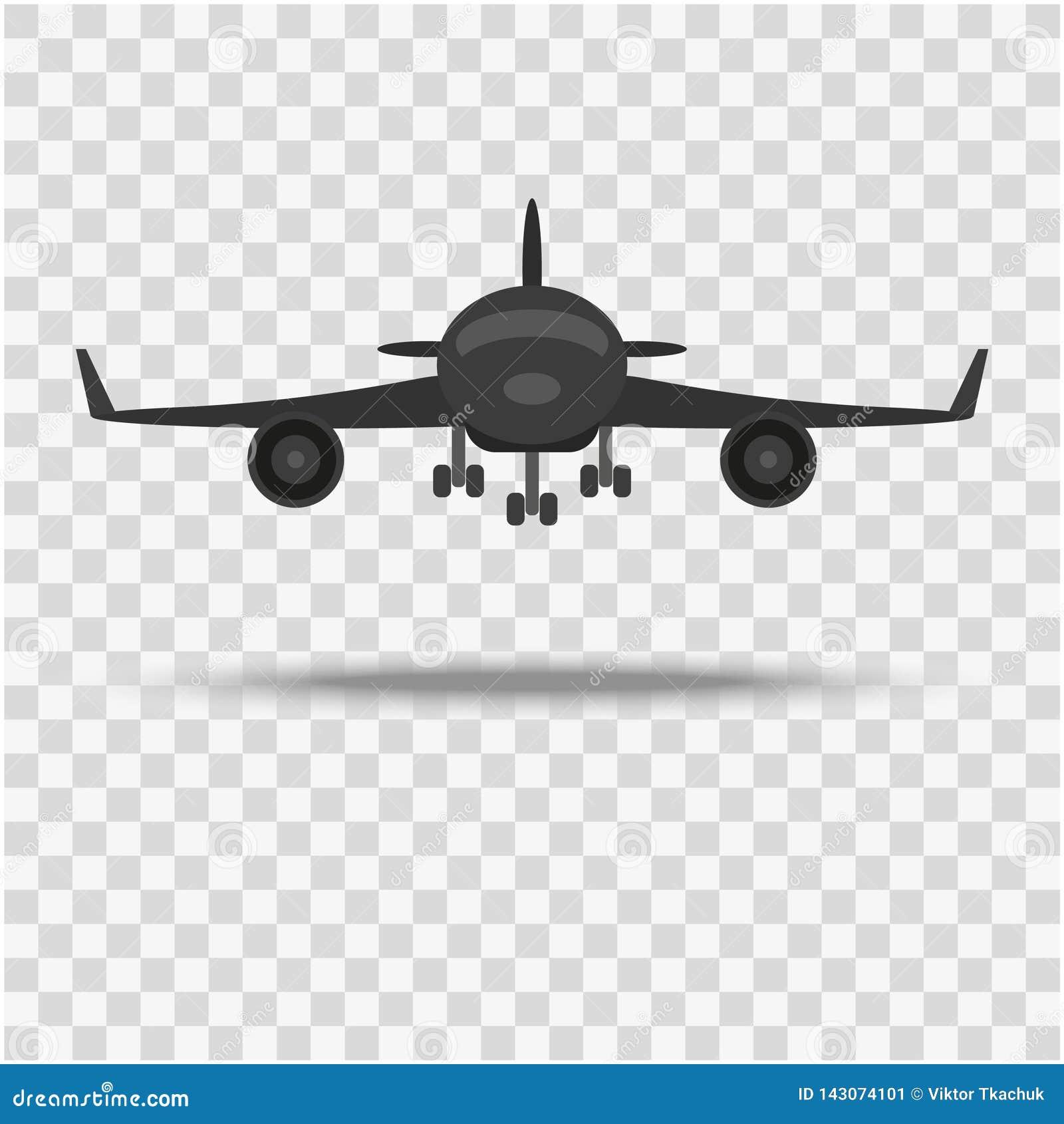 Το αεροπλάνο, μια μπροστινή άποψη σε ένα υπόβαθρο με μια σκιά