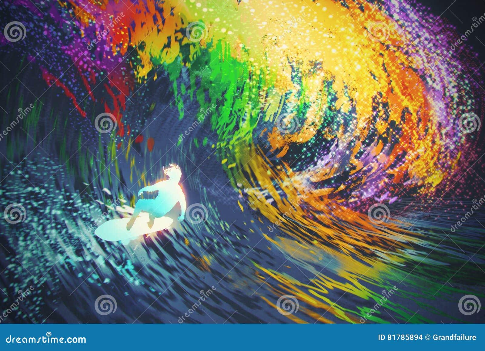 Το ακραίο surfer οδηγά ένα ζωηρόχρωμο ωκεάνιο κύμα