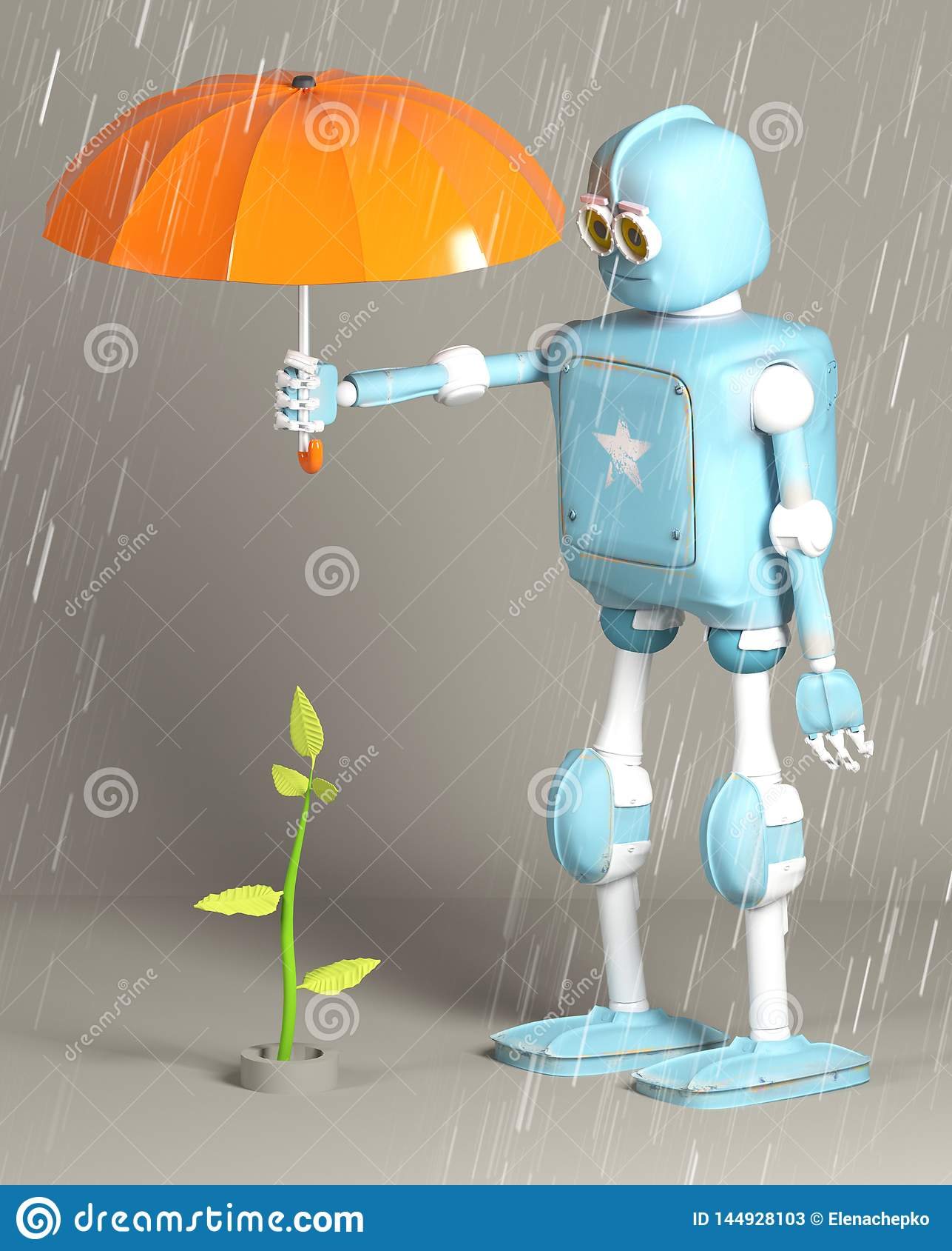 Το αναδρομικό ρομπότ προστατεύει το νεαρό βλαστό, εγκαταστάσεις, τρισ