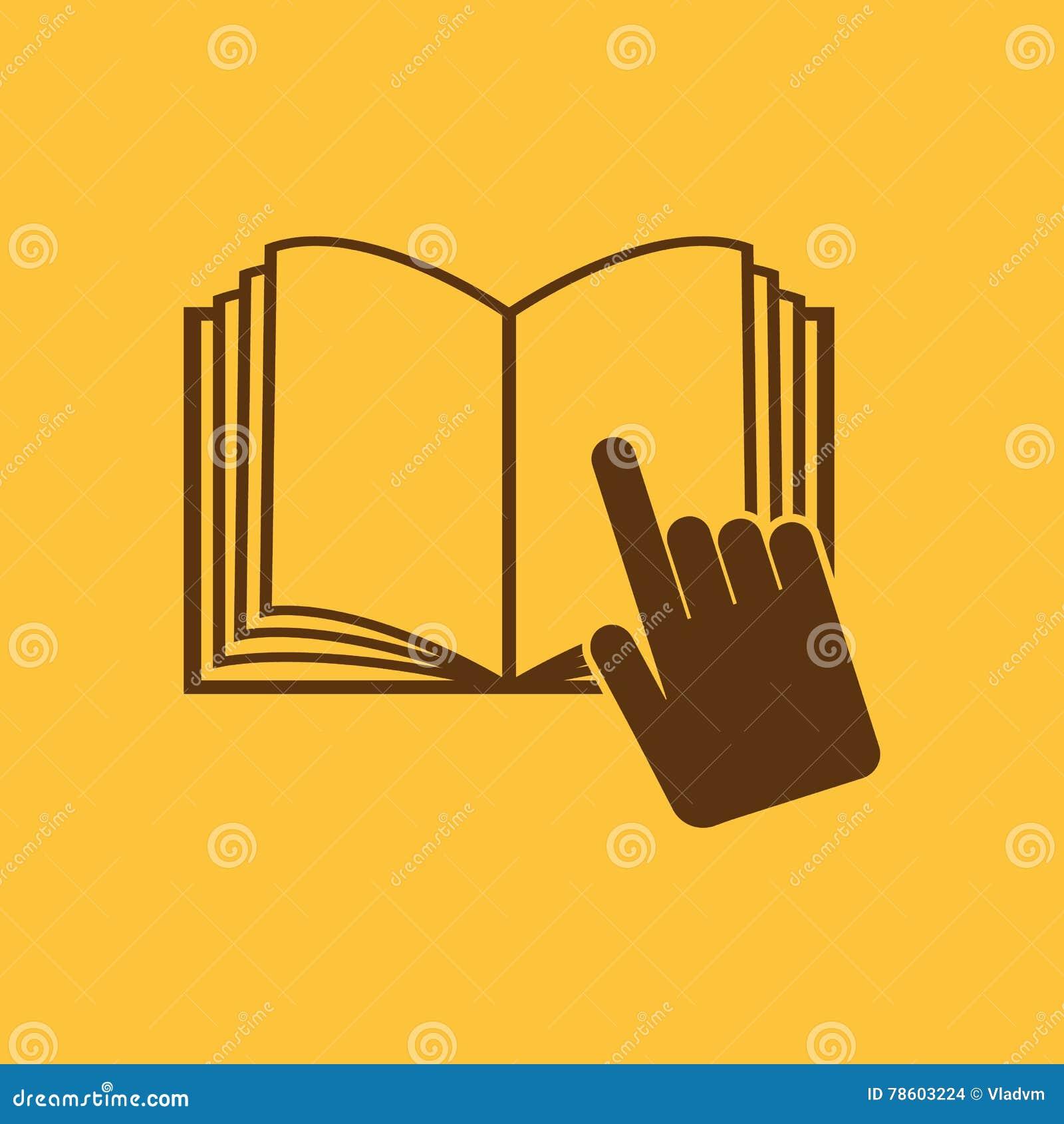 Το ανοικτό εικονίδιο βιβλίων Χειρωνακτικός και διδακτικός, σύμβολο οδηγίας επίπεδος