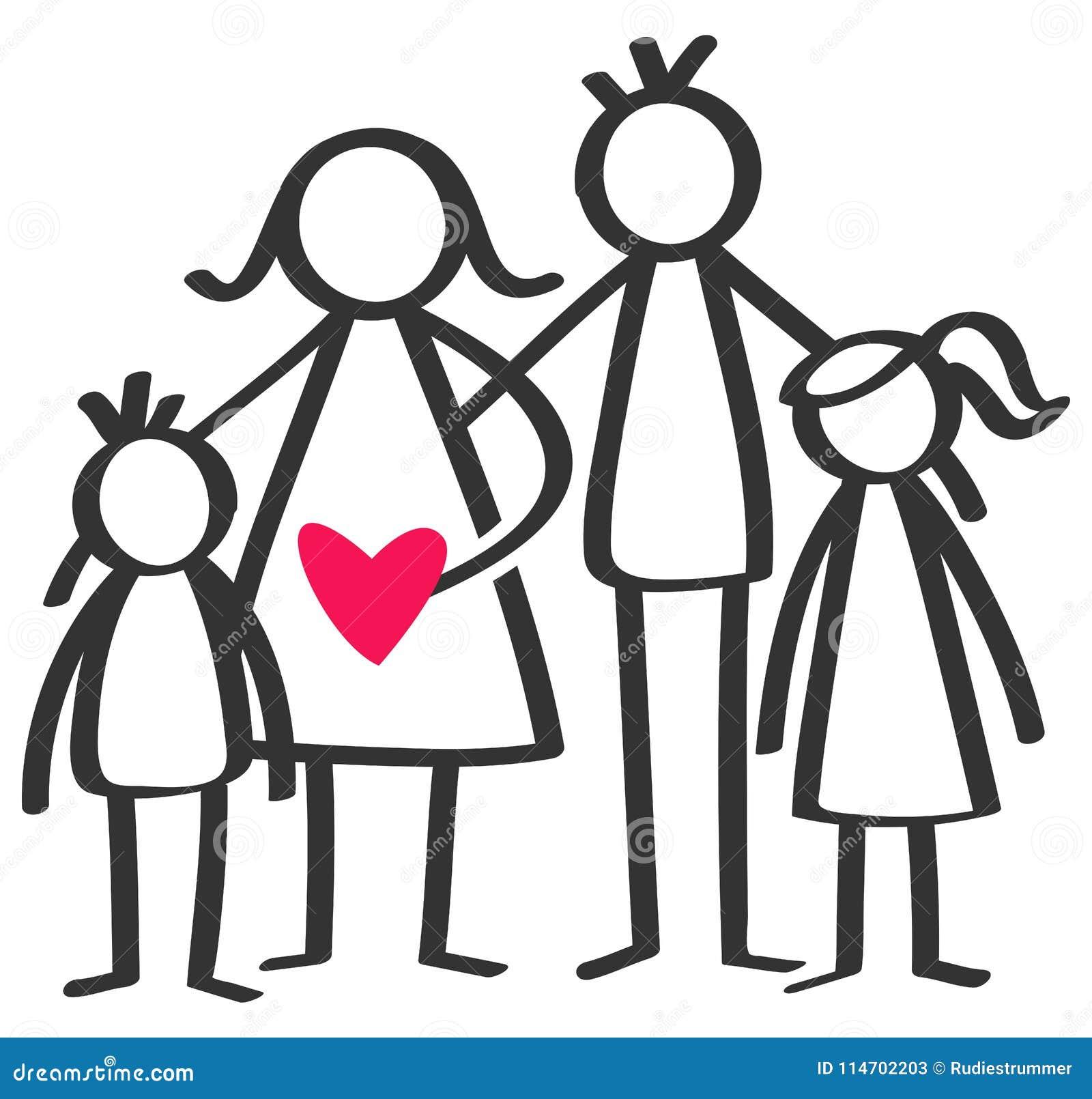 Το απλό ραβδί λογαριάζει την ευτυχή οικογένεια, μητέρα, πατέρας, γιος, κόρη, παιδιά, κόκκινη καρδιά που απομονώνεται στο άσπρο υπ