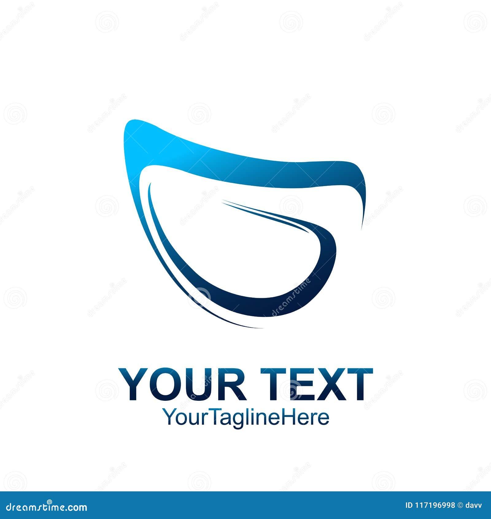 Το αρχικό πρότυπο λογότυπων Γ επιστολών χρωμάτισε το μπλε αφηρημένο desi swoosh