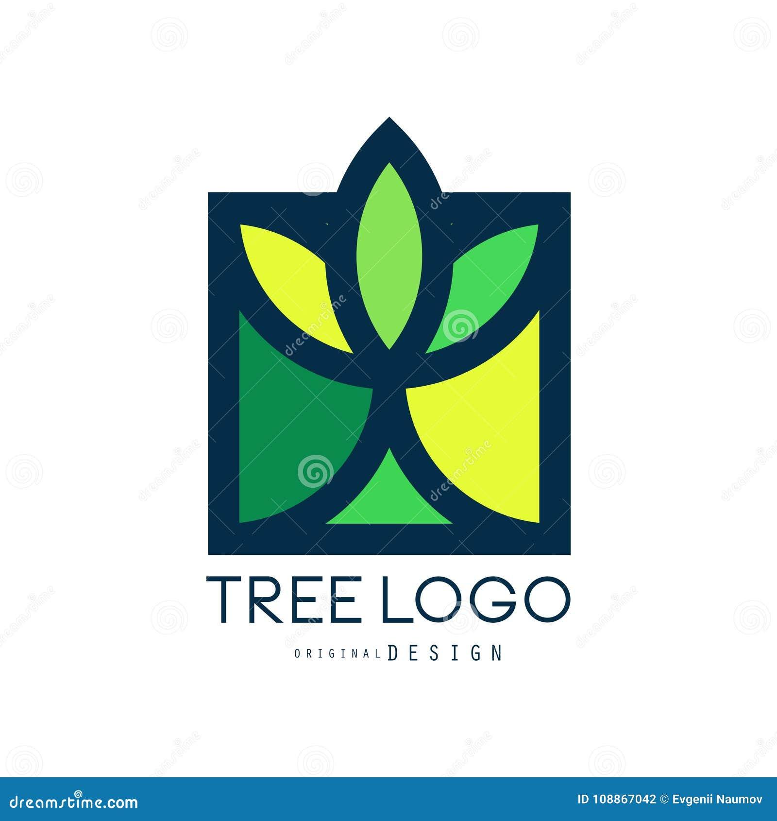 Το αρχικό σχέδιο λογότυπων δέντρων, πράσινο βιο διακριτικό eco, αφαιρεί την οργανική διανυσματική απεικόνιση στοιχείων