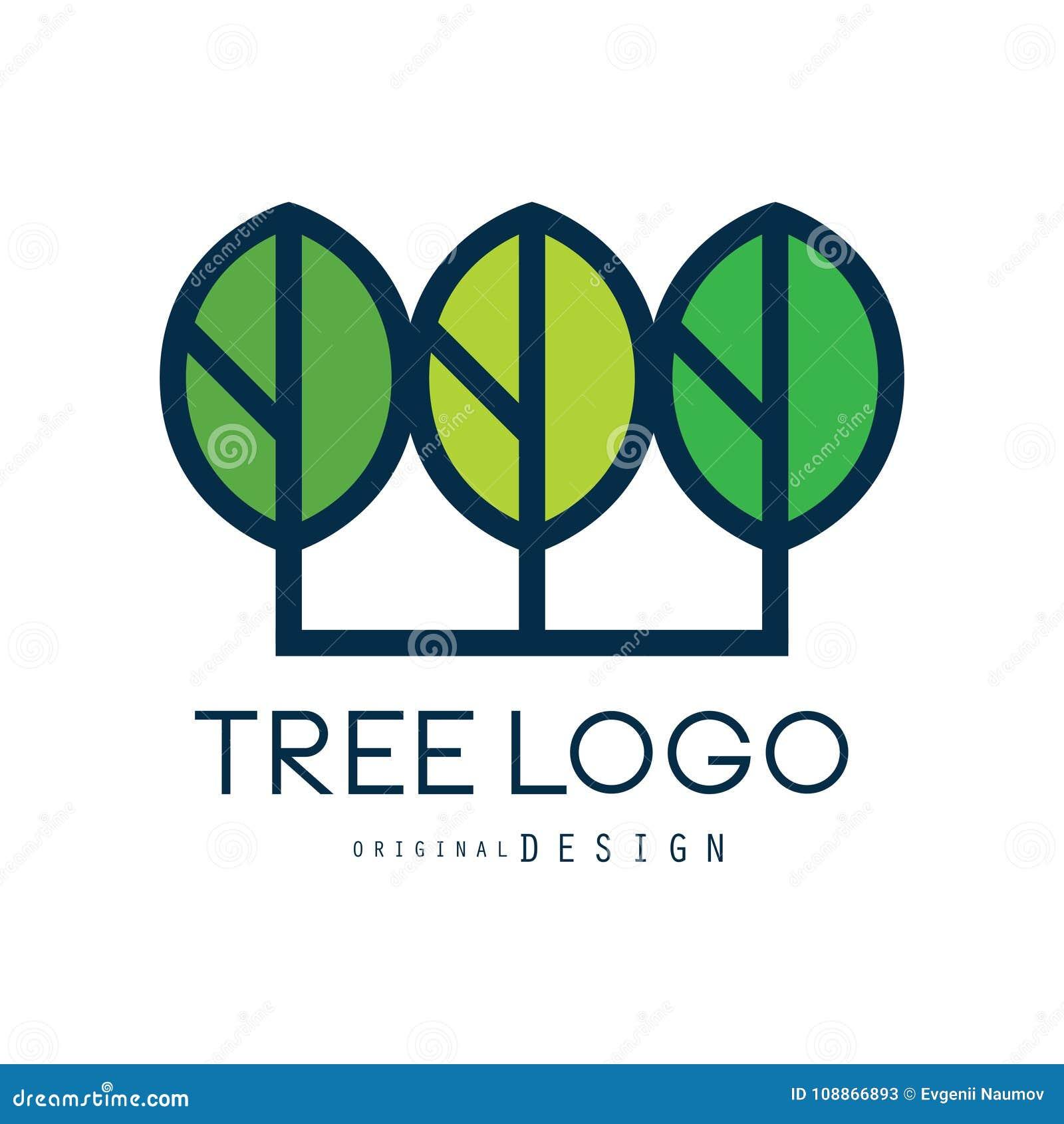 Το αρχικό σχέδιο λογότυπων δέντρων, πράσινο διακριτικό eco, αφαιρεί την οργανική διανυσματική απεικόνιση στοιχείων