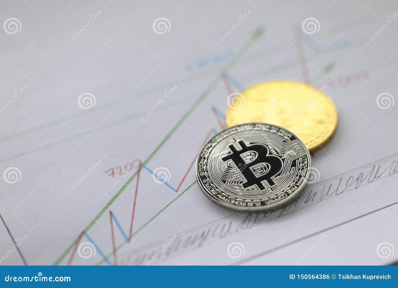 Το ασημένιο και χρυσό νόμισμα του bitcoin βρίσκεται στην επιχείρηση