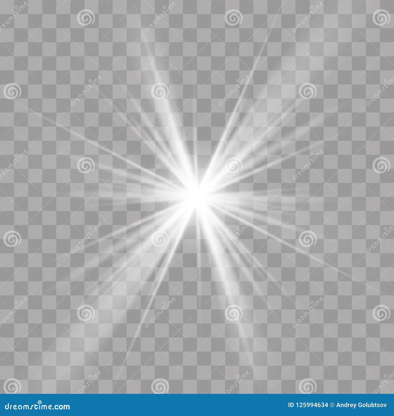 Το αστέρι ήλιων ελαφριών ακτίνων λάμπει επίδραση ακτινοβολιών λάμψης
