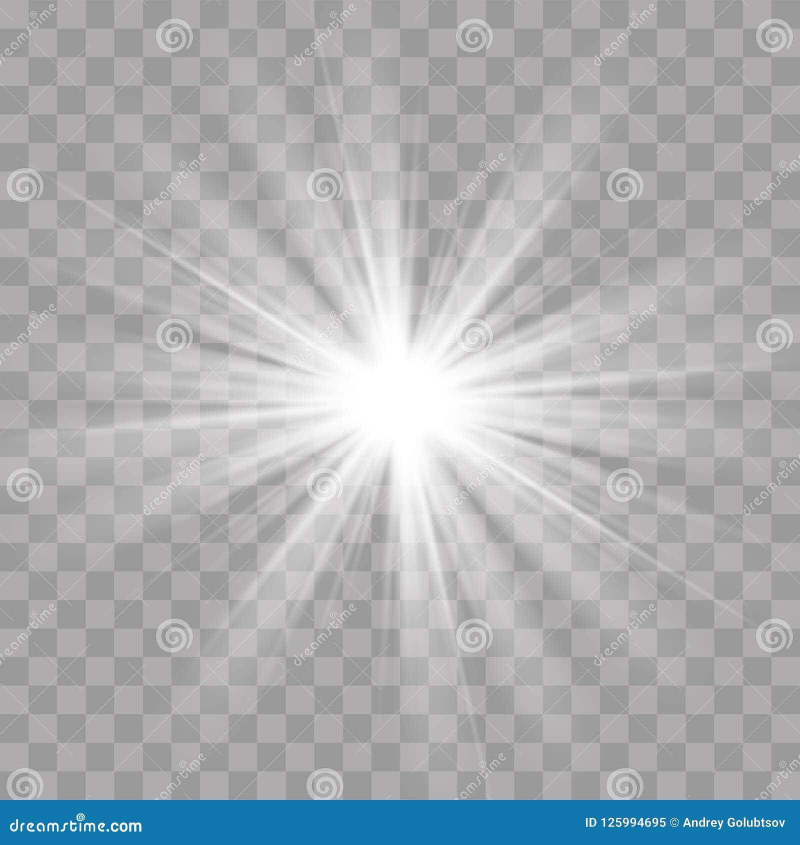 Το αστέρι ήλιων λάμψης ελαφριών ακτίνων λάμπει επίδραση ακτινοβολιών