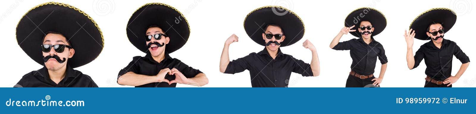 Το αστείο άτομο το μεξικάνικο καπέλο σομπρέρο που απομονώνεται που φορά στο λευκό