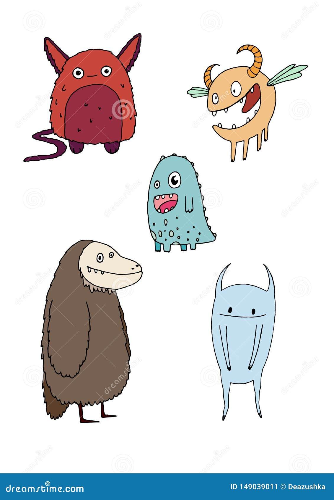 Το αστείο ευτυχές χέρι τεράτων κινούμενων σχεδίων doodle σύρει