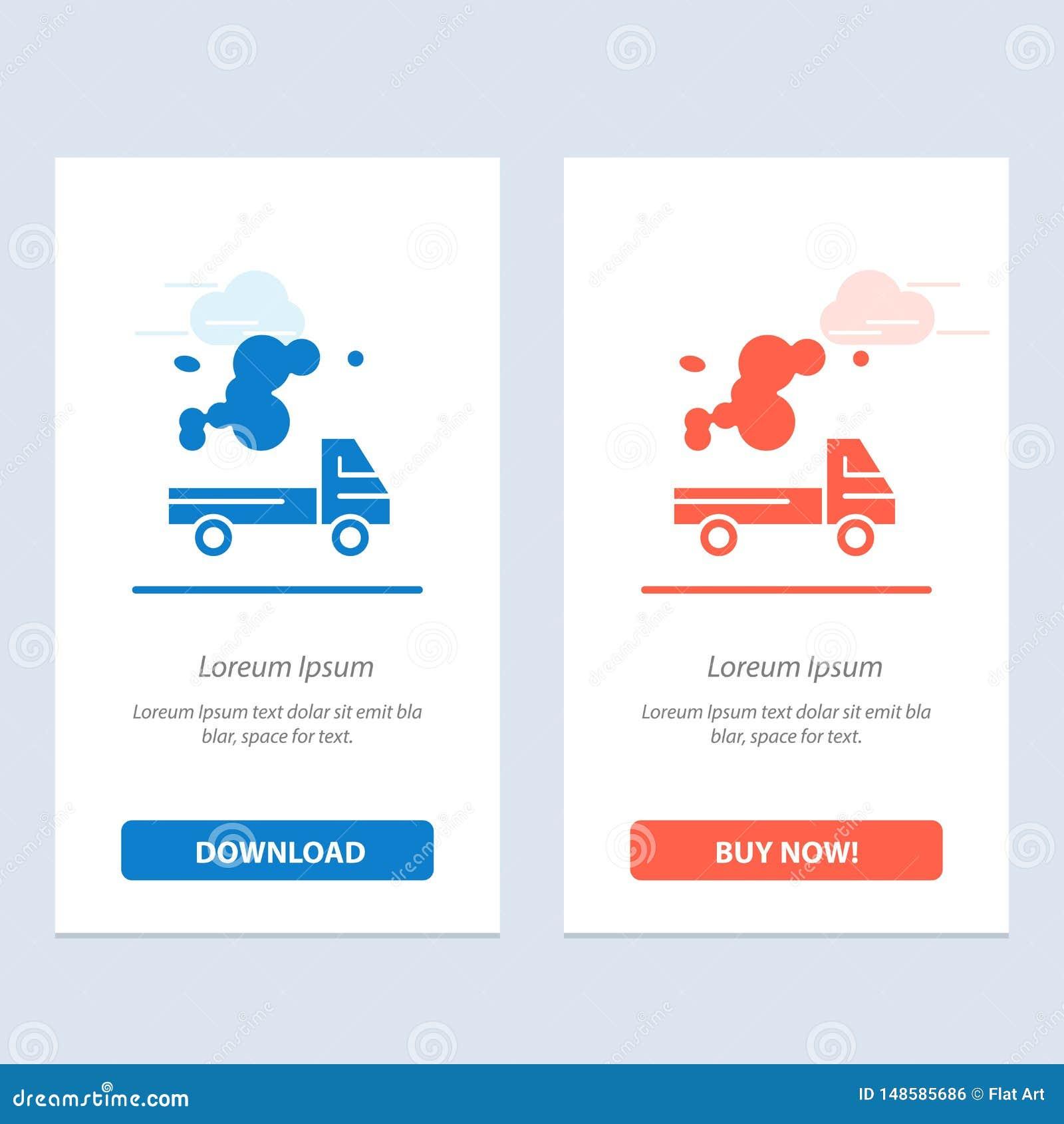Το αυτοκίνητο, το φορτηγό, η εκπομπή, το αέριο, η ρύπανση μπλε και το κόκκινο μεταφορτώνουν και αγοράζουν τώρα το πρότυπο καρτών