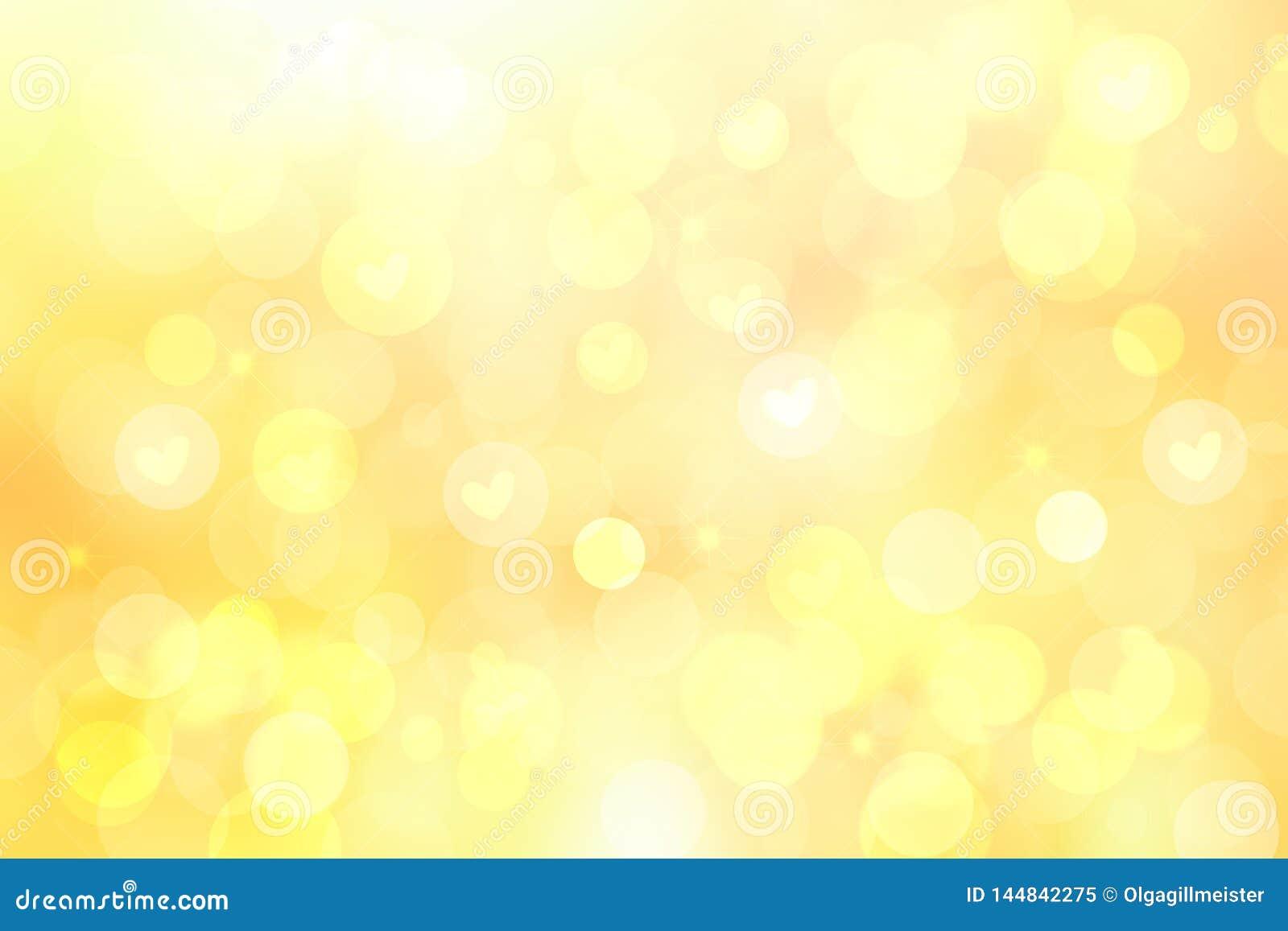 Το αφηρημένο εορταστικό υπόβαθρο κρητιδογραφιών θαμπάδων φωτεινό κίτρινο με τις κίτρινες καρδιές αγαπά bokeh για την ημέρα μητέρω