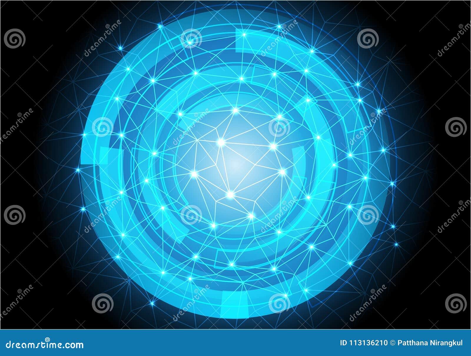 Το αφηρημένο μπλε πολύγωνο τριγώνων γραμμών κύκλων ελαφρύ συνδέει την τεχνολογία δύναμης στοιχείων στο μαύρο σύγχρονο φουτουριστι