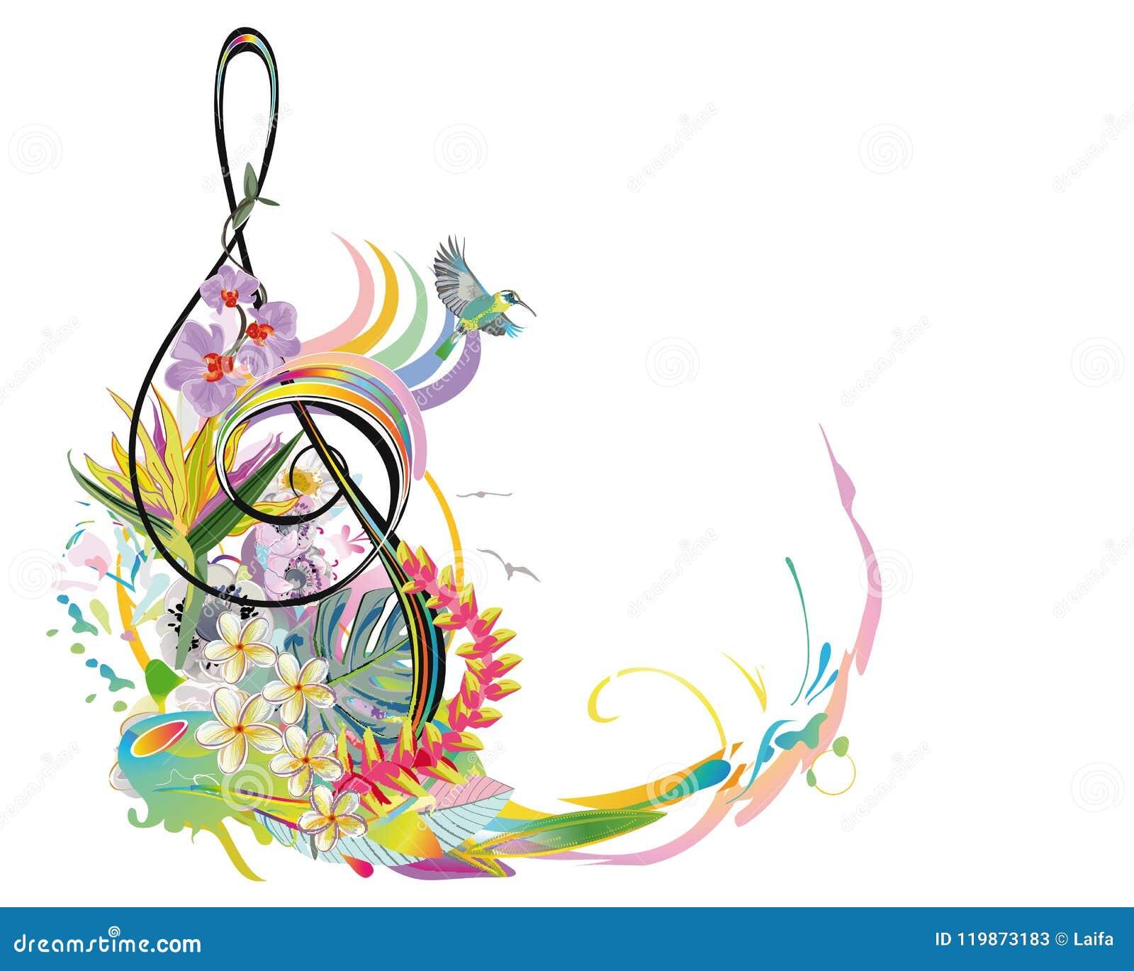 Το αφηρημένο τριπλό clef που διακοσμείται με το καλοκαίρι και την άνοιξη ανθίζει, φύλλα φοινικών, σημειώσεις, πουλιά