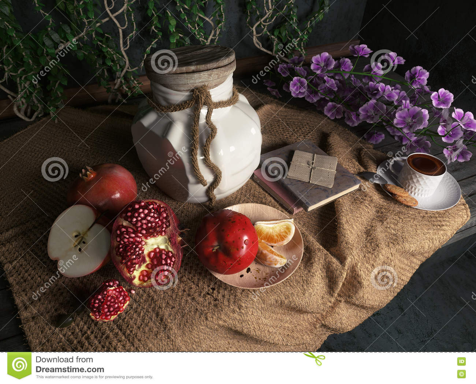 Το βάζο, μήλα, ρόδι, coffe κοιλαίνει με τα βιβλία και το πορτοκάλι στην εννοιολογική ακόμα-ζωή υφασματεμποριών καμβά