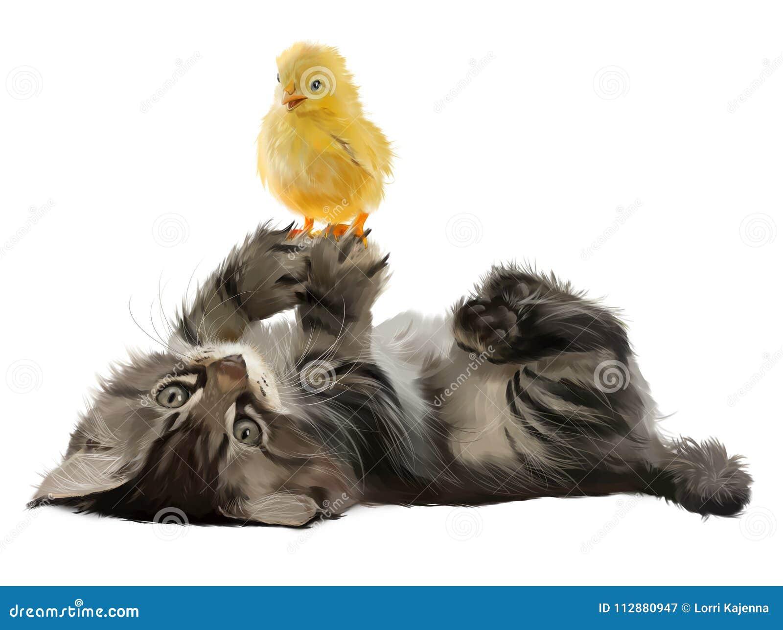 Το γατάκι και το κοτόπουλο της ζωγραφικής watercolor