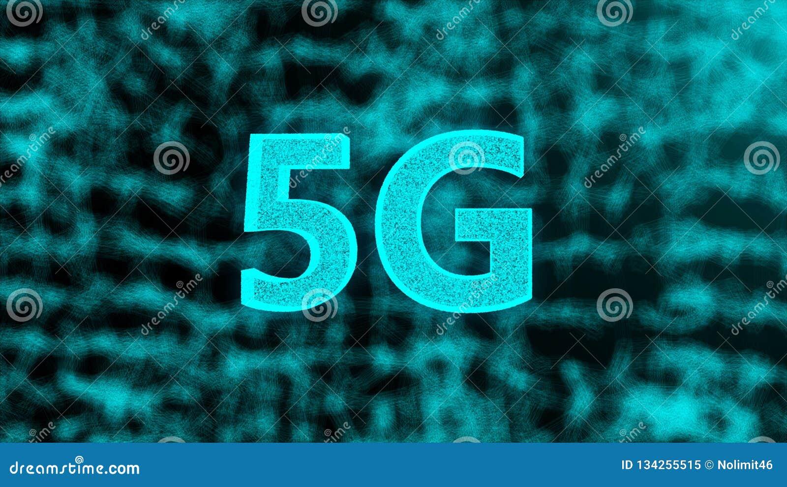 Το δημιουργικό σκηνικό πυράκτωσης 5G, αυτό είναι κινητή έννοια Διαδικτύου, τρισδιάστατος δώστε