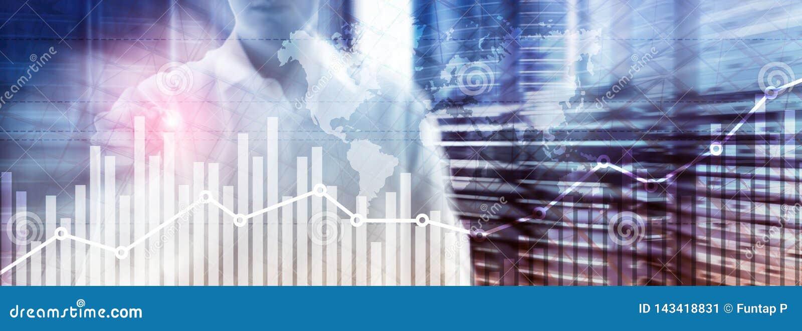 Το διάγραμμα γραφικών παραστάσεων αύξησης επιχειρησιακής χρηματοδότησης που αναλύουν τις εμπορικές συναλλαγές διαγραμμάτων και τα