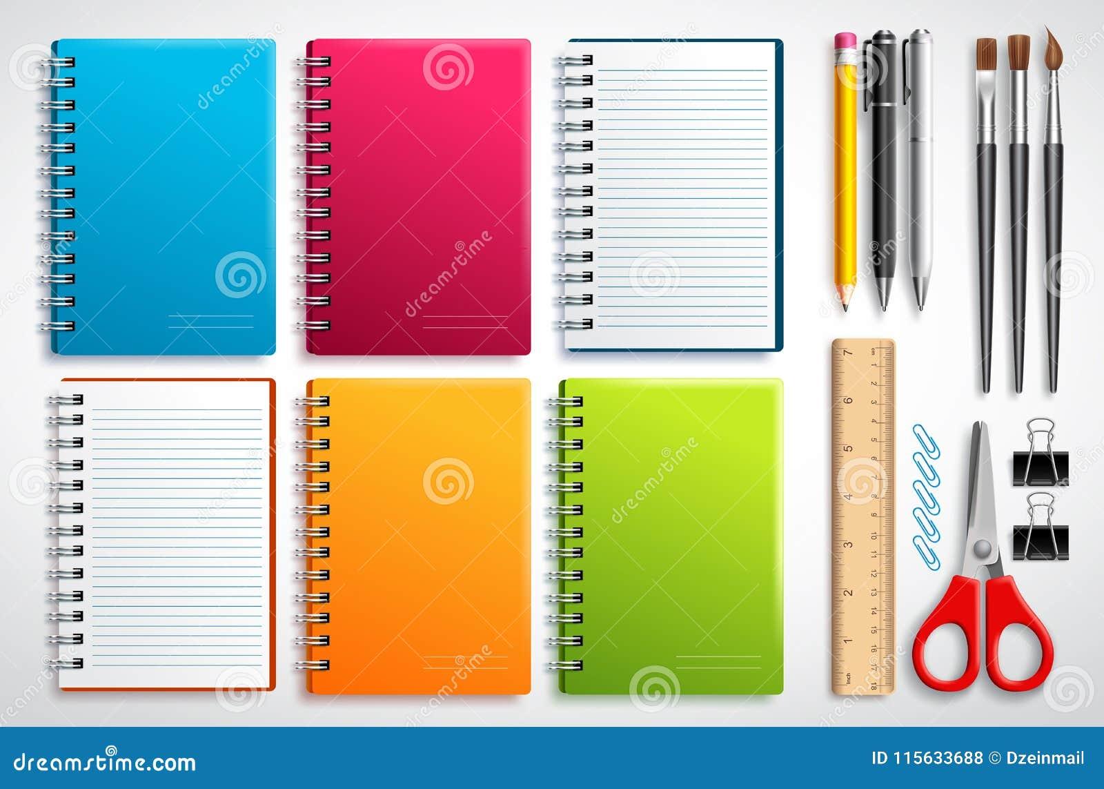 Το διάνυσμα σημειωματάριων έθεσε με τα σχολικά στοιχεία και τις προμήθειες γραφείων που απομονώθηκαν στο άσπρο υπόβαθρο