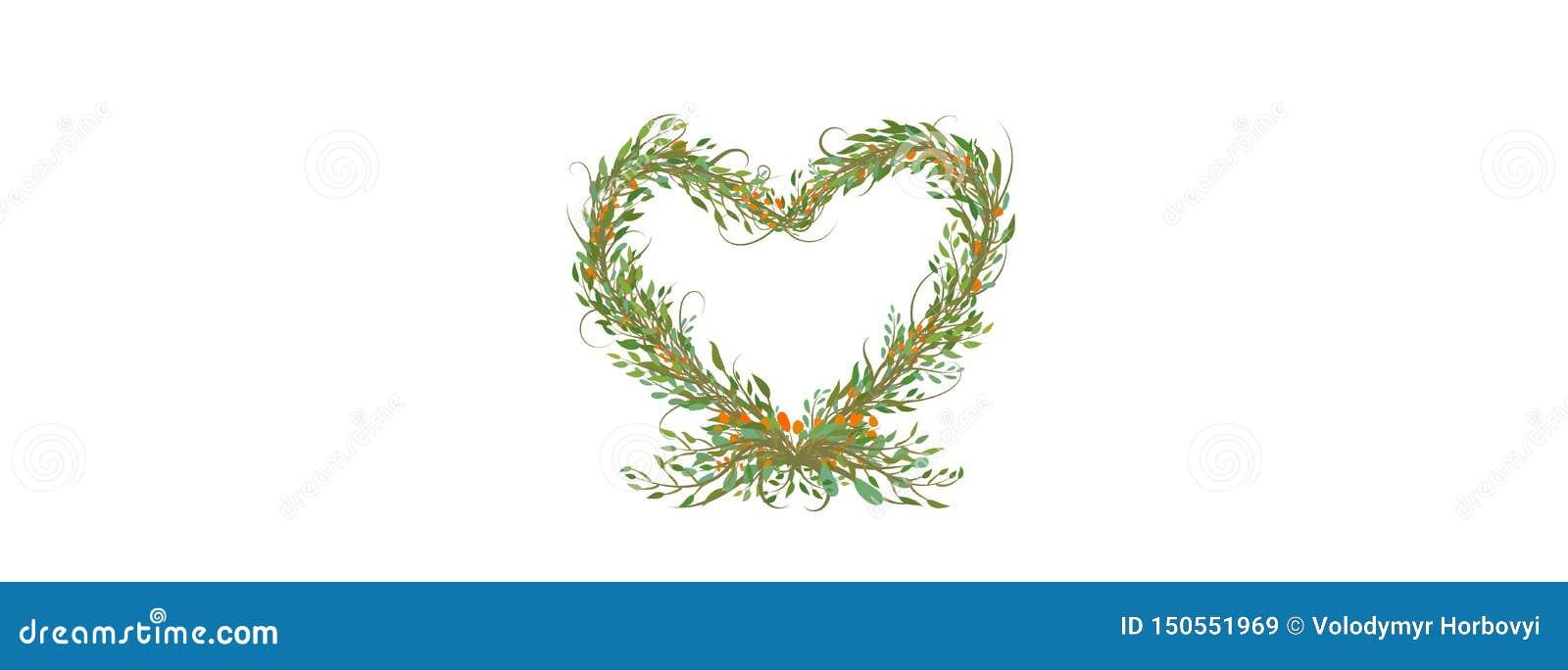 Το διακοσμητικό σύμβολο καρδιών από τους κλάδους και βγάζει φύλλα