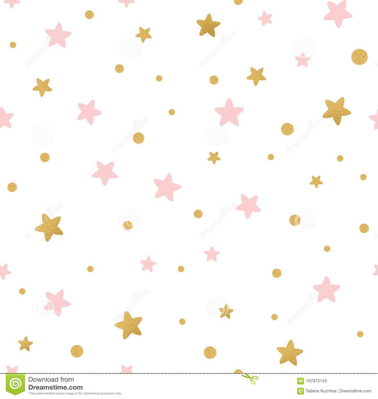 Το διανυσματικό άνευ ραφής σχέδιο τα χρυσά ρόδινα αστέρια για τα Χριστούγεννα backgound ή το κλωστοϋφαντουργικό προϊόν ντους μωρώ