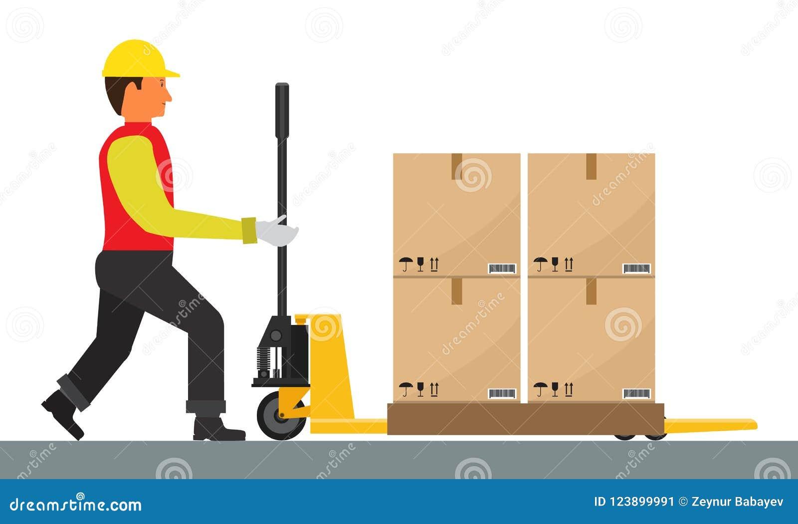 Το διανυσματικό άτομο οδηγεί την παλέτα Jack με το φορτίο Επίπεδο και στερεό χρώμα