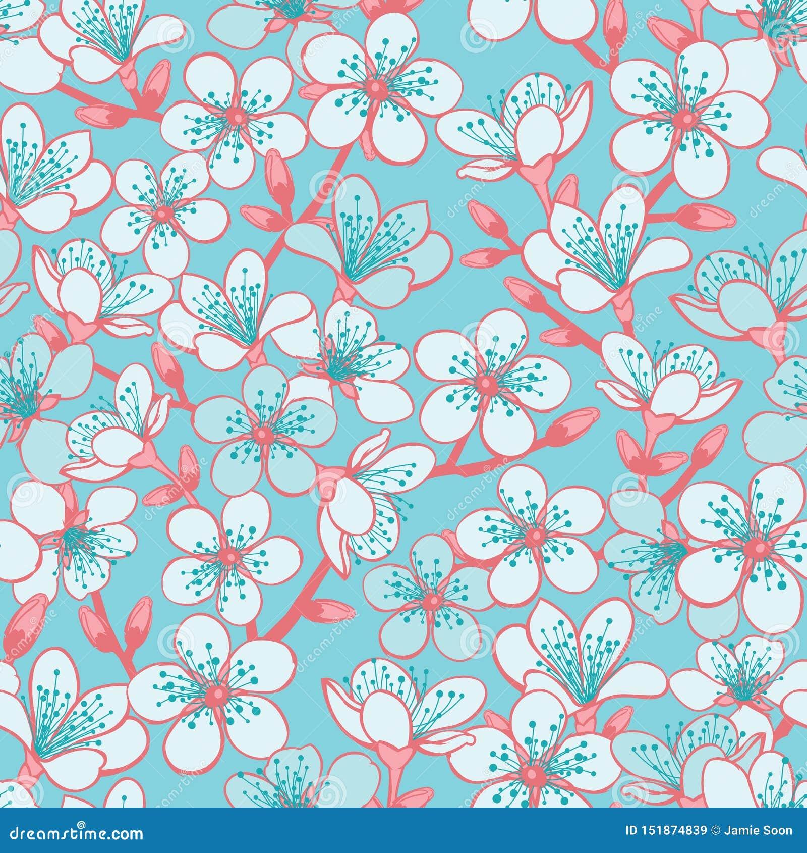 Το διανυσματικό κυανό υπόβαθρο κρητιδογραφιών με το ανοικτό μπλε sakura ανθών κερασιών ανθίζει και κόκκινο υπόβαθρο σχεδίων μίσχω