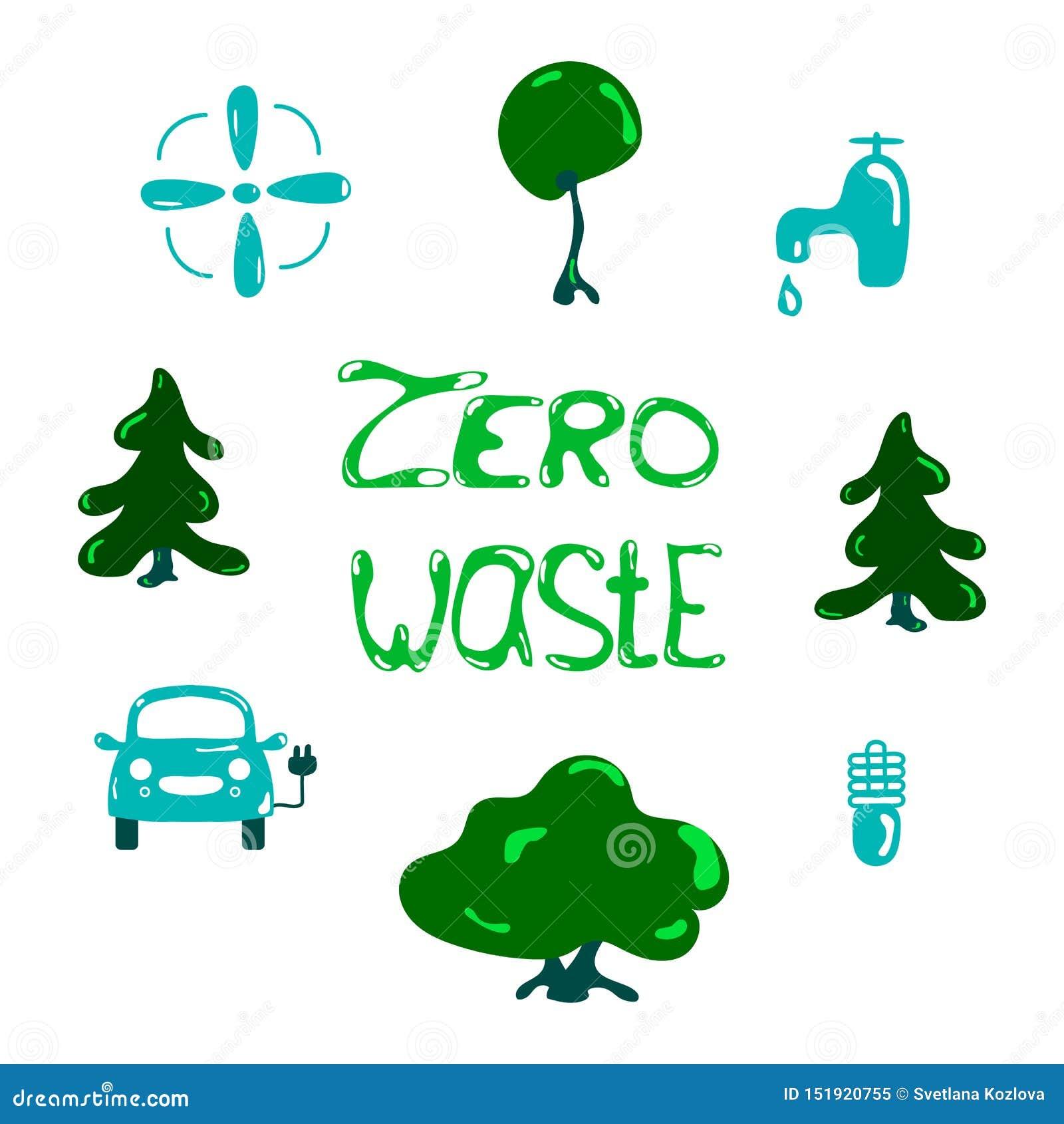Το διανυσματικό σχέδιο μηδενικά έννοια αποβλήτων, ανακυκλώνει και επαναχρησιμοποιεί, μειώνει - οικολογικοί τρόπος ζωής και βιώσιμ