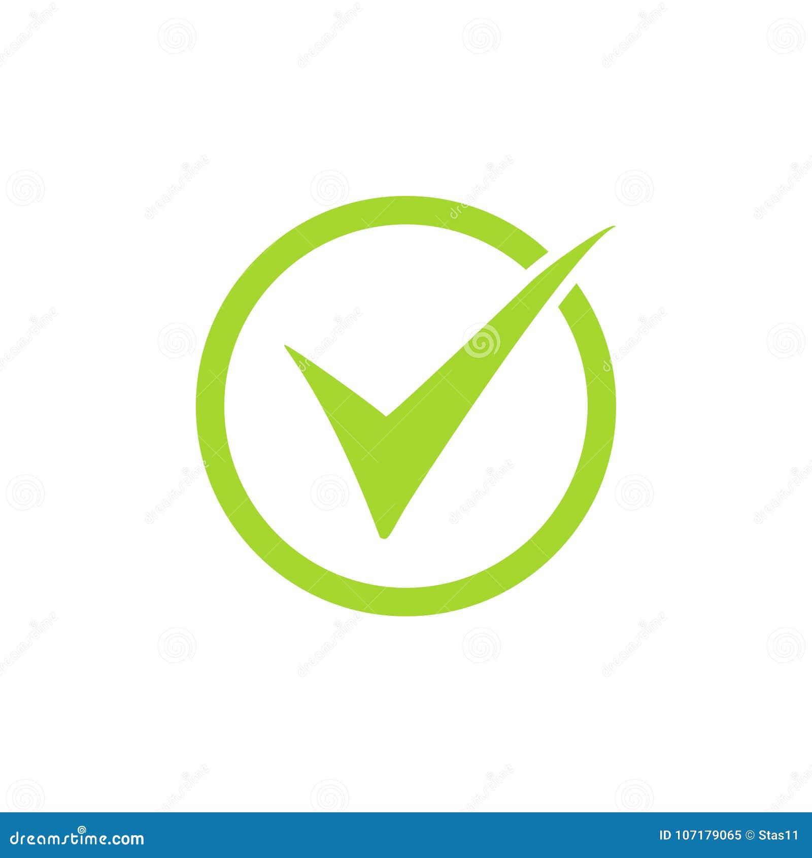 Το διανυσματικό σύμβολο εικονιδίων κροτώνων, πράσινο checkmark που απομονώθηκε στο άσπρο υπόβαθρο, έλεγξε το εικονίδιο ή το σωστό