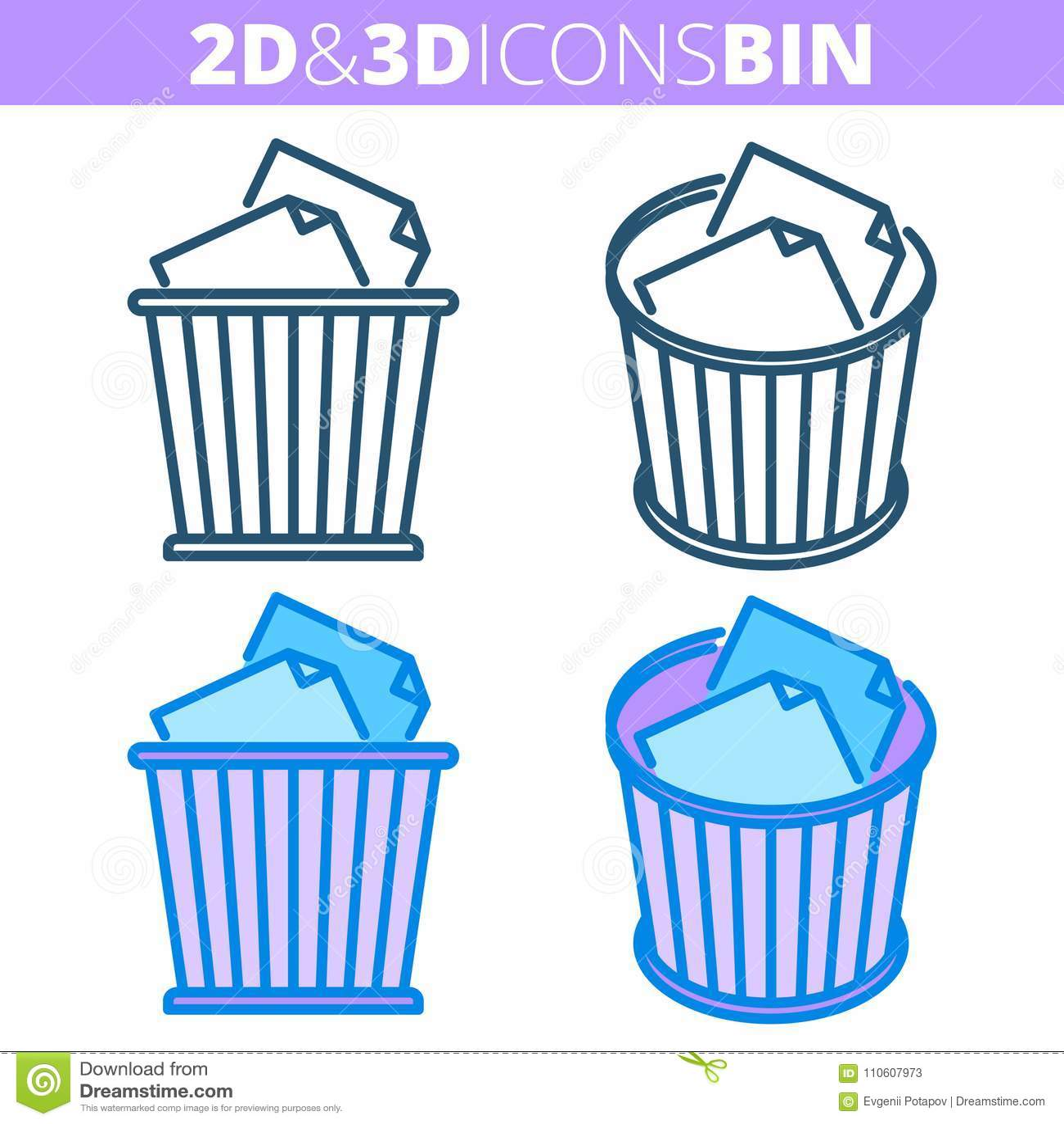 Το δοχείο αποβλήτων Επίπεδο και isometric τρισδιάστατο σύνολο εικονιδίων περιλήψεων