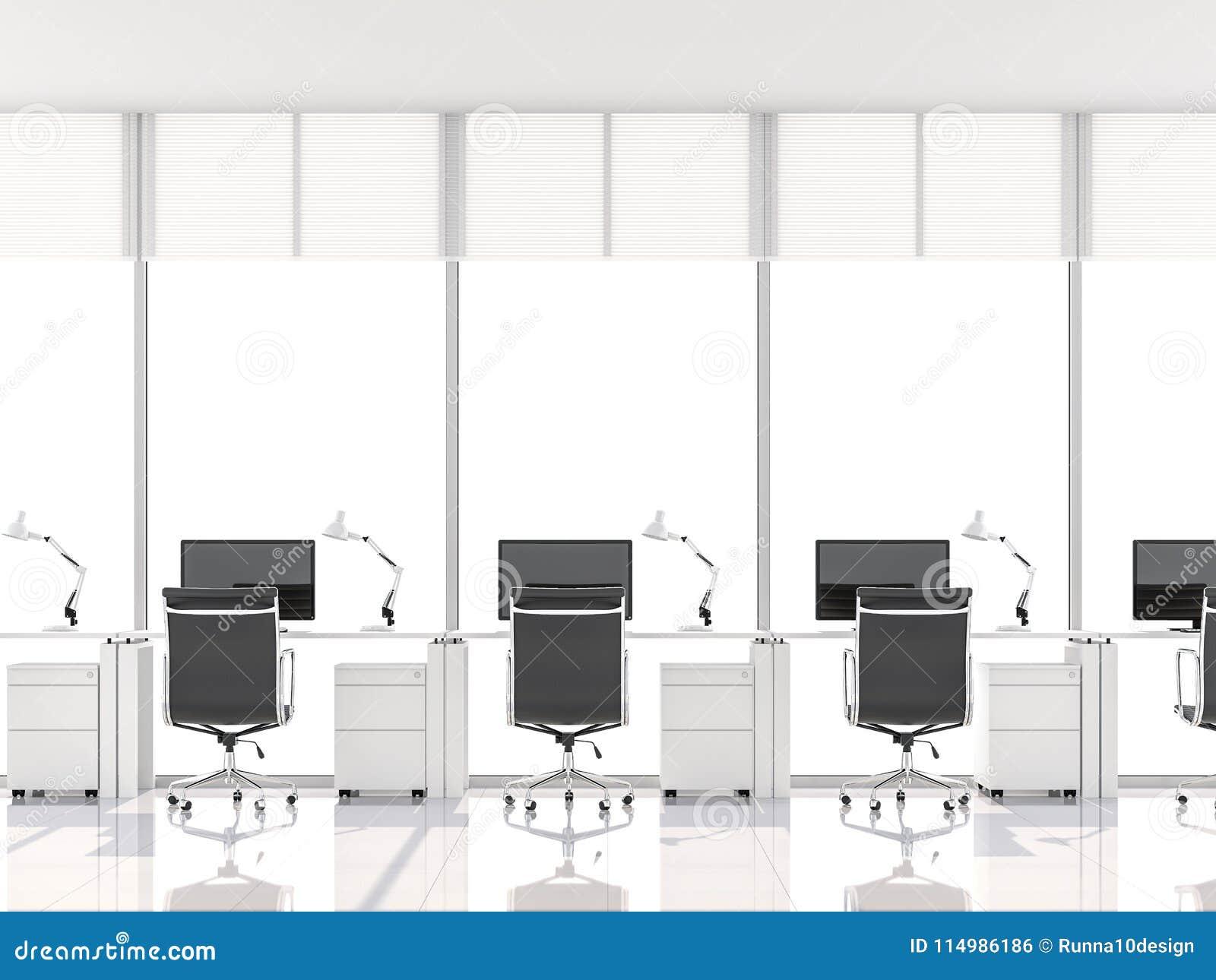 Το ελάχιστο γραφείο ύφους με το παράθυρο κόλπων τρισδιάστατο δίνει