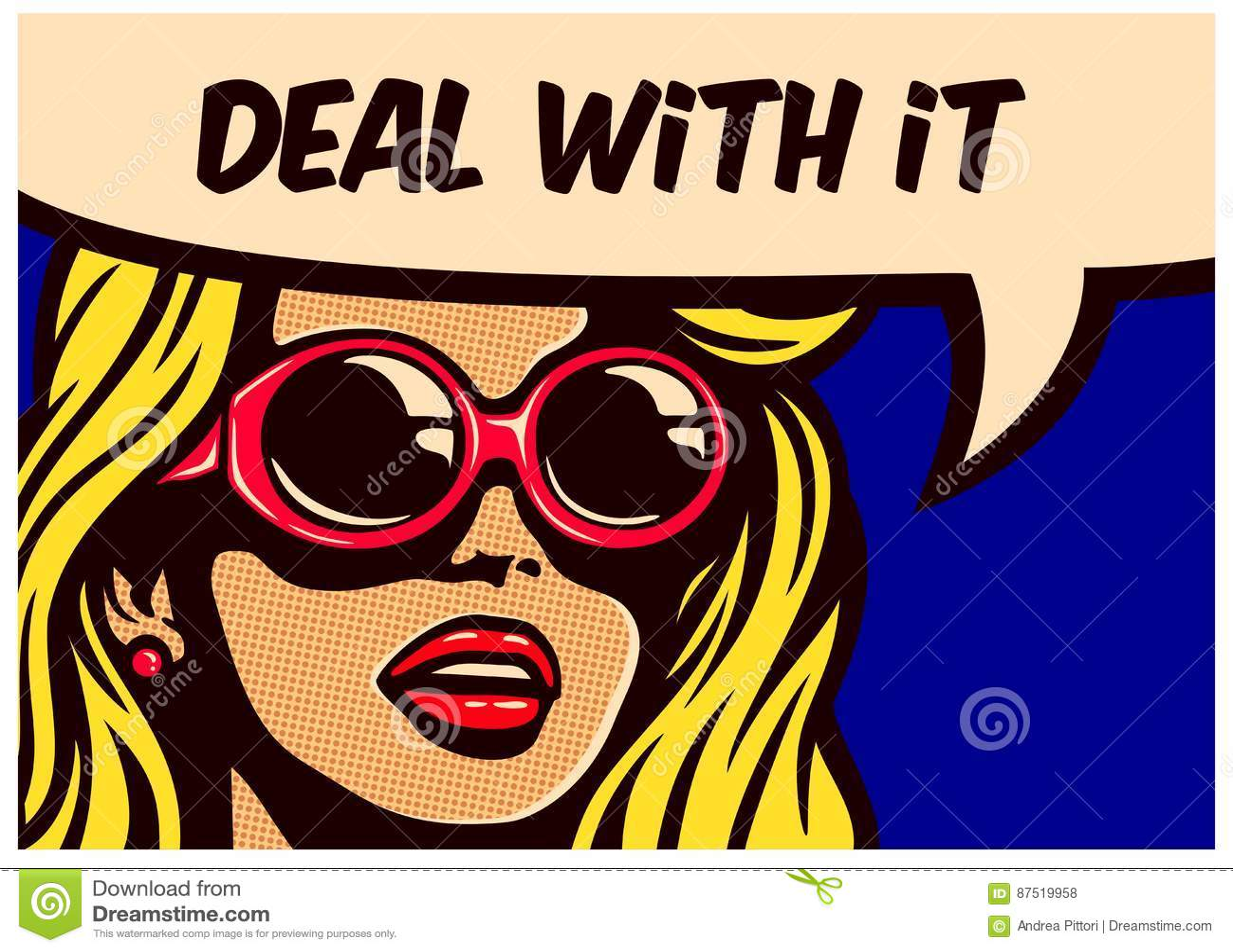 Το εξετάστε! Εκλεκτής ποιότητας λαϊκή ατάραχη αδιάφορη γυναίκα κόμικς τέχνης με τη διανυσματική απεικόνιση soundglasses