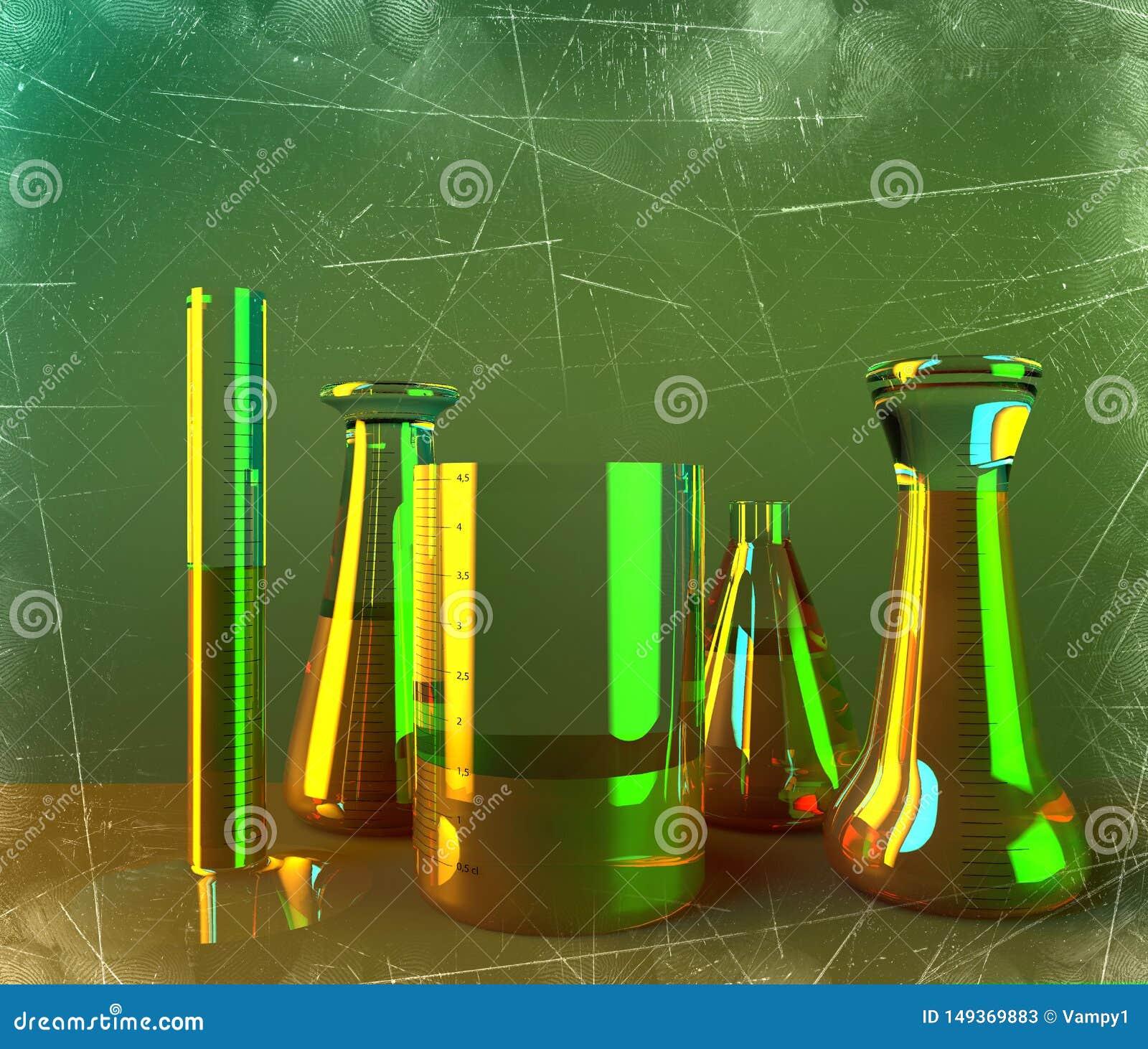 Το εργαστήριο και τα biohazards μελετούν, ανάλυση και δοκιμή με τα εμπορευματοκιβώτια για τα υγρά σε έναν πίνακα Ιοί και βακτηρίδ