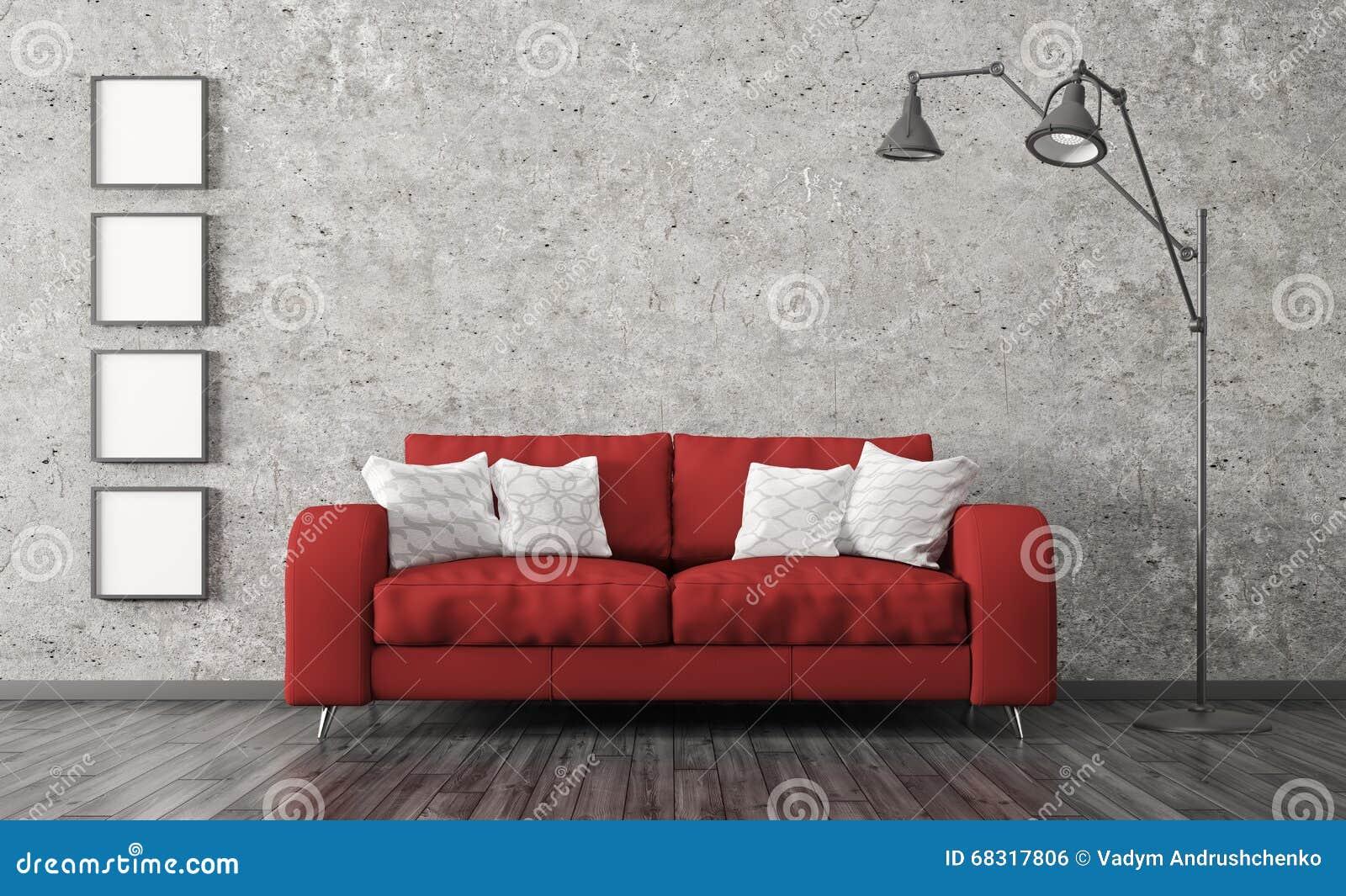 Το εσωτερικό με τον κόκκινο καναπέ ενάντια του συμπαγούς τοίχου τρισδιάστατου δίνει