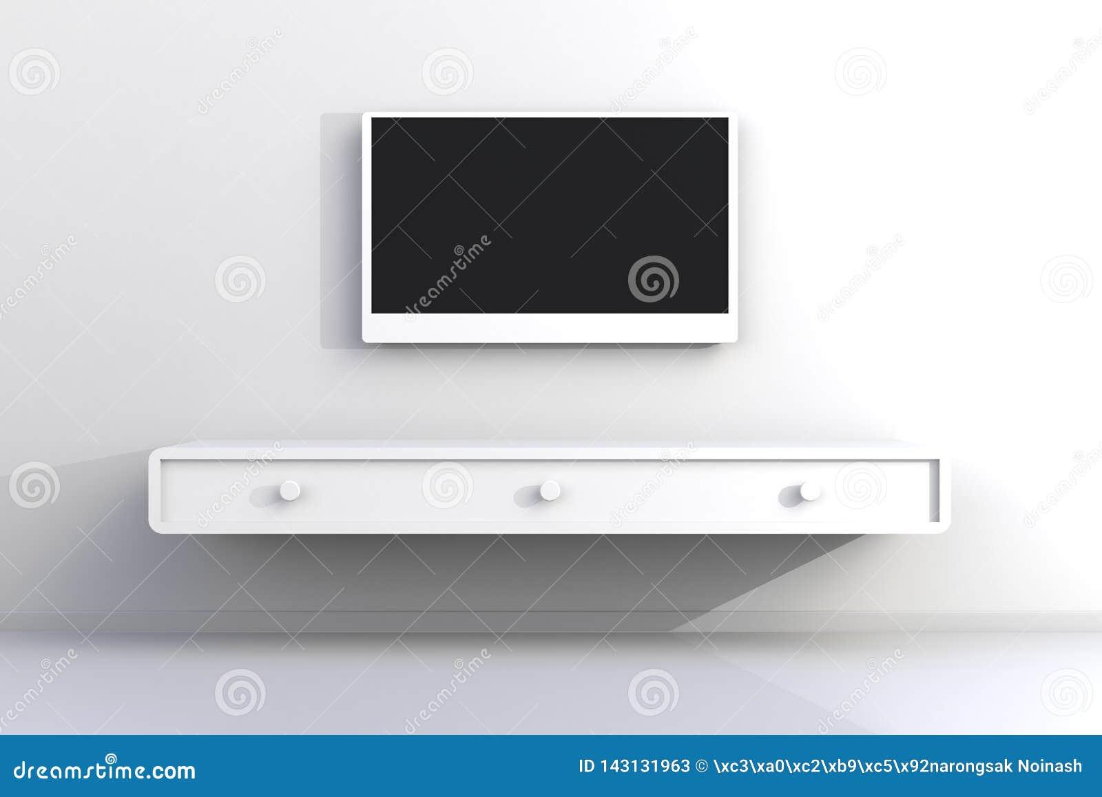 Το εσωτερικό του κενού δωματίου με τη TV, καθιστικό οδήγησε τη TV στον άσπρο τοίχο με το ξύλινο ύφος επιτραπέζιων σύγχρονο σοφιτώ