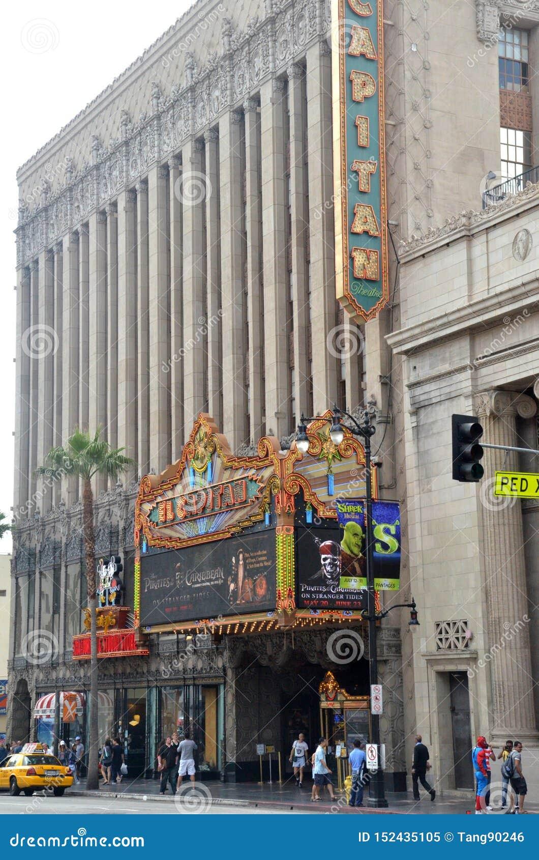 Το θέατρο EL Capitan είναι ένα πλήρως αποκατεστημένο παλάτι κινηματογράφων στη λεωφόρο Hollywood, Καλιφόρνια