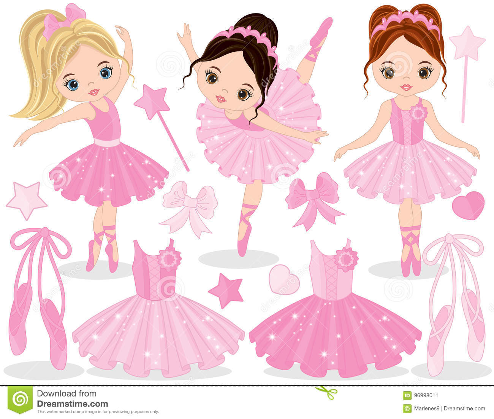 a66b524841f Διάνυσμα που τίθεται με τα χαριτωμένα μικρά ballerinas, τα παπούτσια  μπαλέτου και το φόρεμα tutu Διανυσματικός μικρός χορός ballerinas  Διανυσματική ...