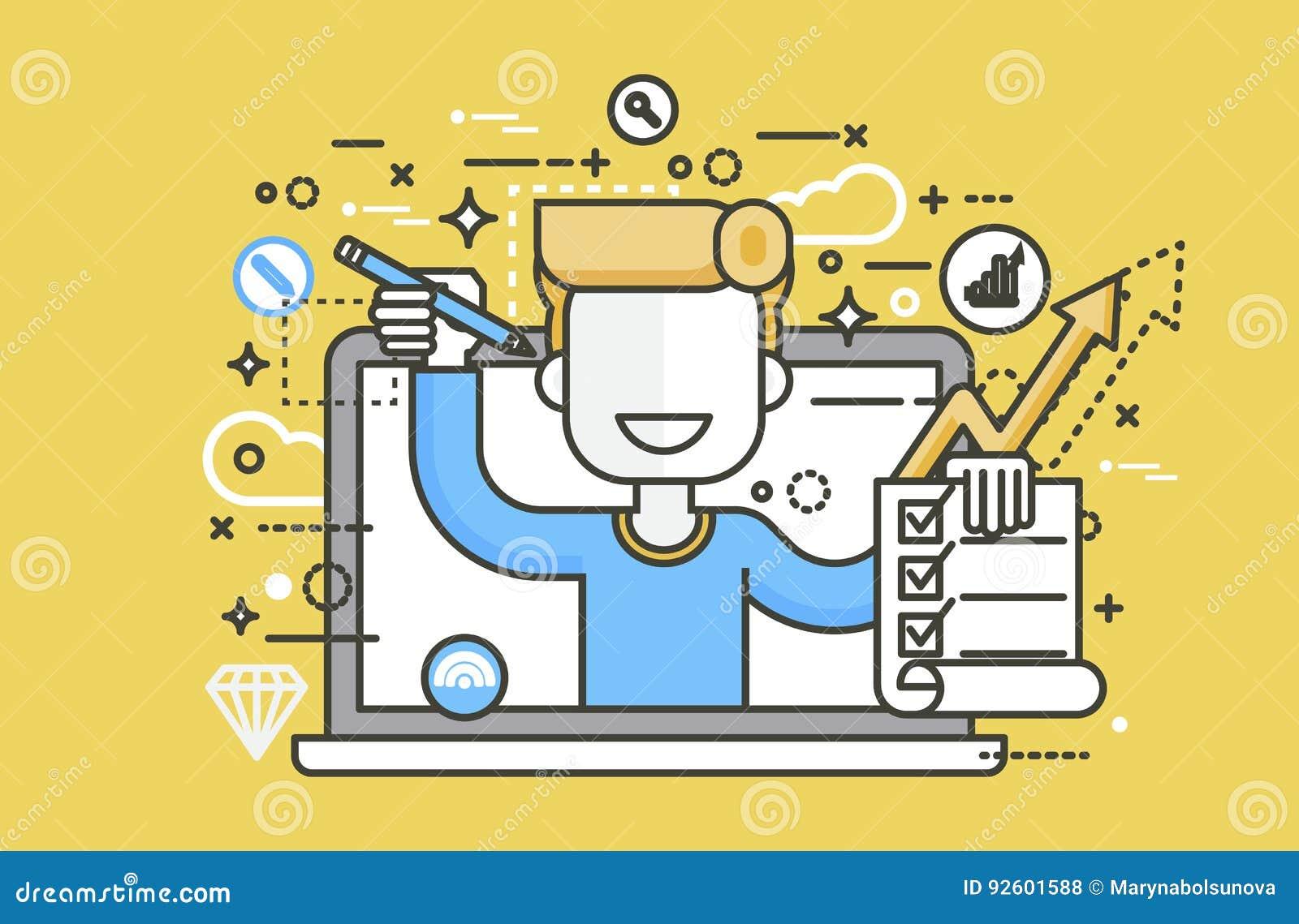 Το διανυσματικό άτομο απεικόνισης στις προσφορές σημειωματάριων lap-top συμπληρώνει την εκπαίδευση στοιχείων σχεδίου αίτησης υποψ