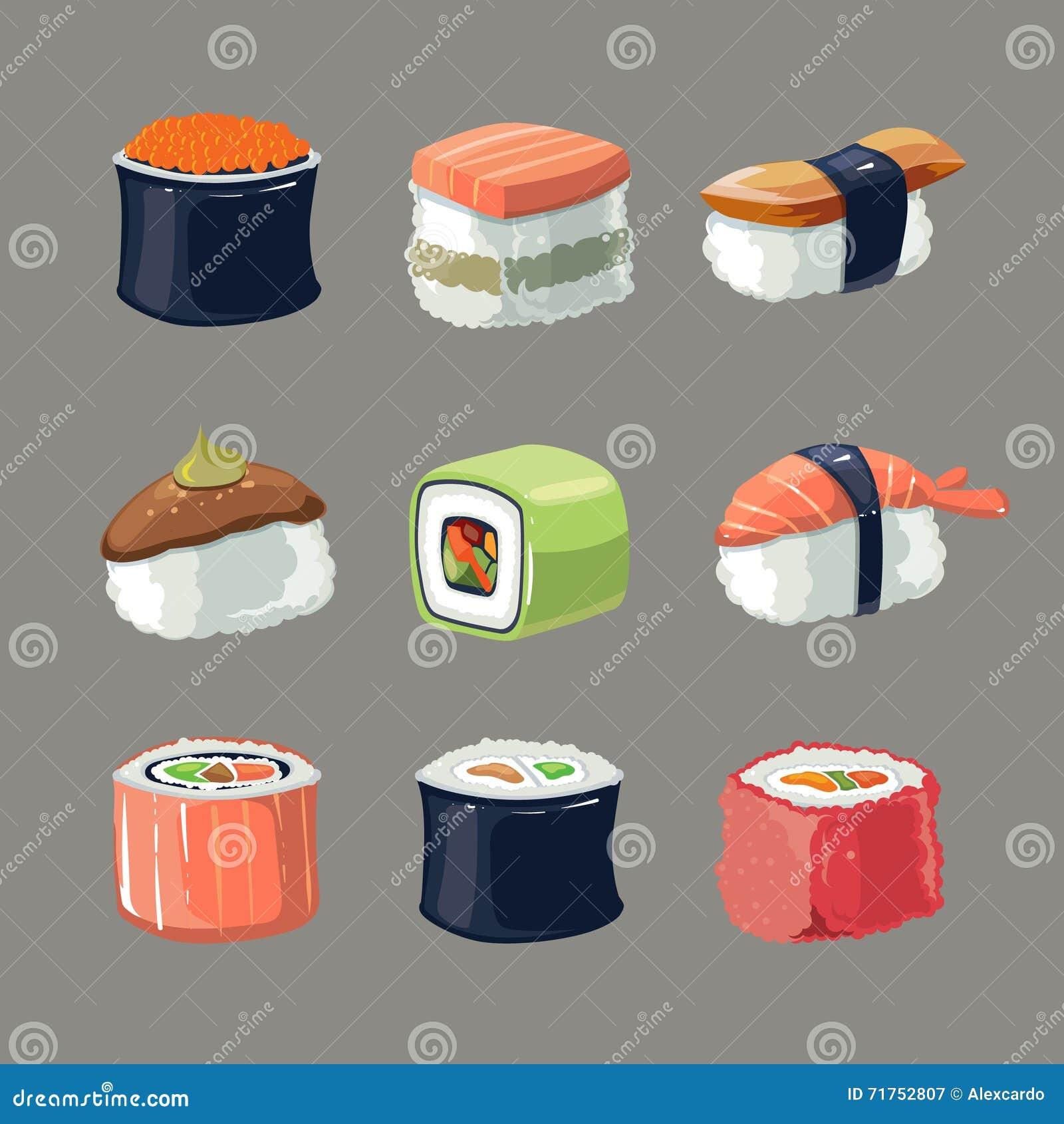 Το διανυσματικό σύνολο εικόνων σουσιών κυλά τα τρόφιμα