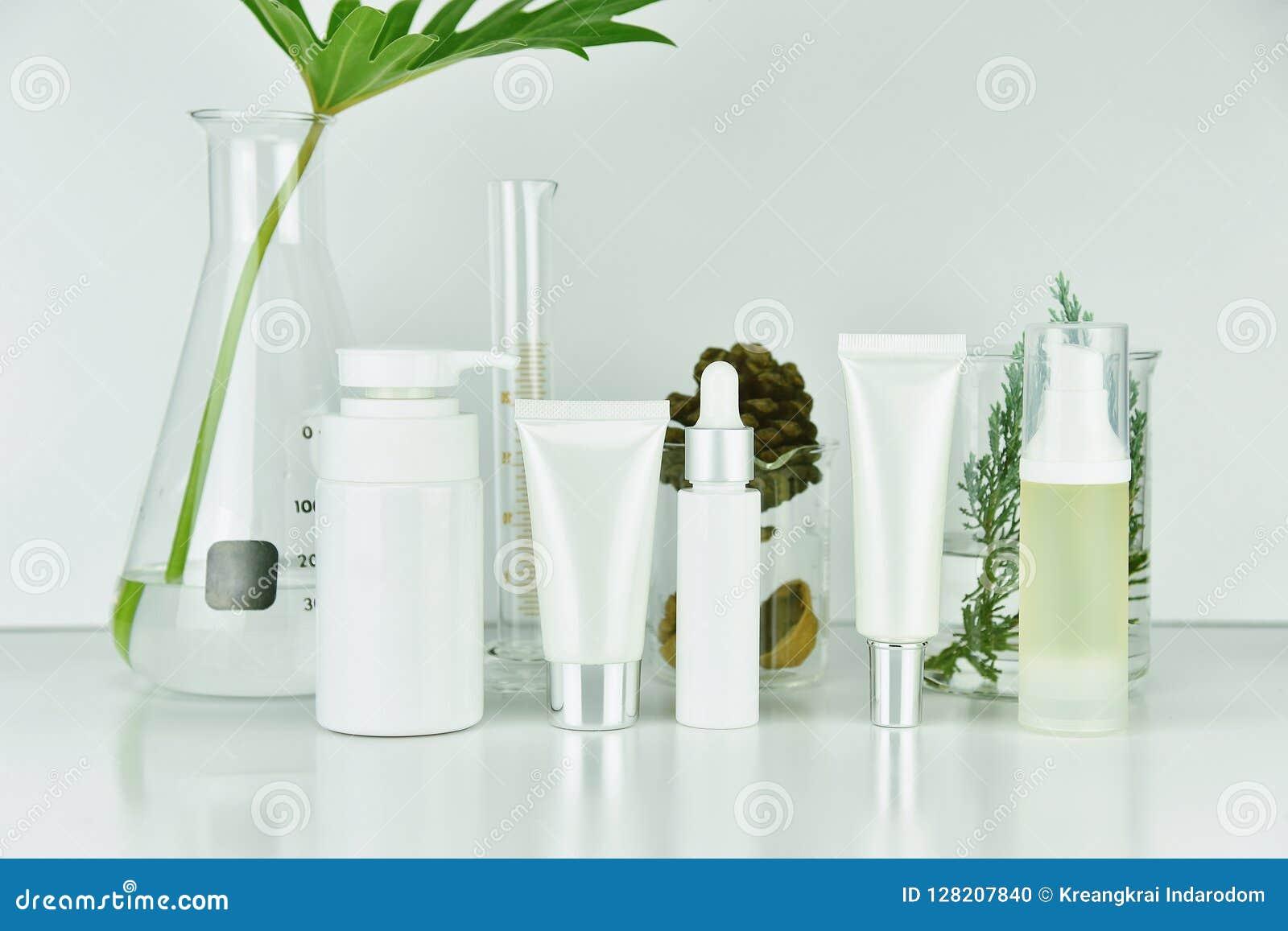 Το καλλυντικό και skincare εμφιαλώνει τα εμπορευματοκιβώτια με τα πράσινα βοτανικά φύλλα, κενή συσκευασία ετικετών για το μαρκάρι