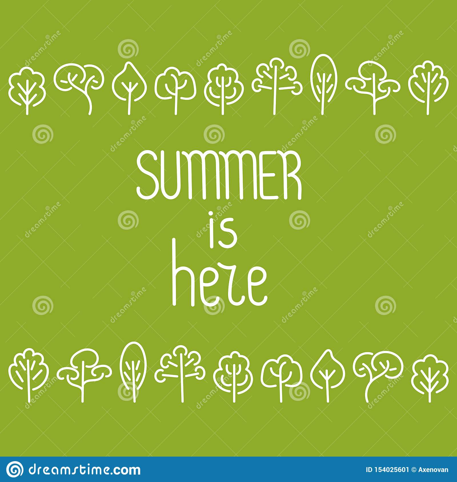Το καλοκαίρι είναι εδώ Δέντρα σχεδίων χεριών Doodle r