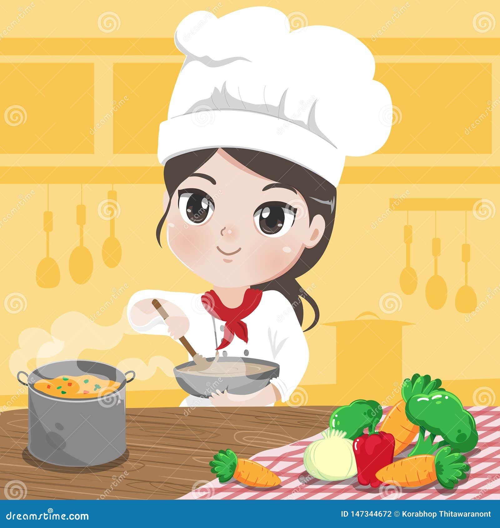 Το κορίτσι αρχιμαγείρων μαγειρεύει στην κουζίνα της με την αγάπη