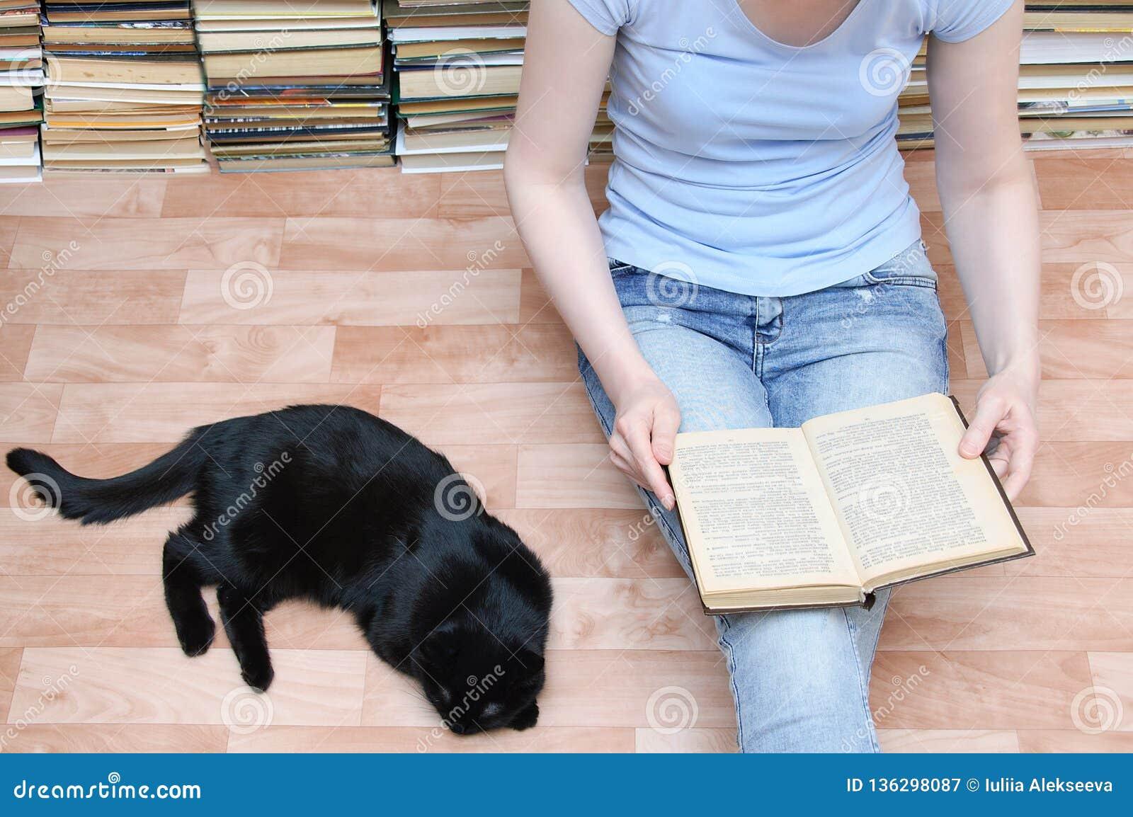 Το κορίτσι κάθεται στο πάτωμα και διαβάζει ένα βιβλίο δίπλα μαύρο να βρεθεί γατών Κινηματογράφηση σε πρώτο πλάνο