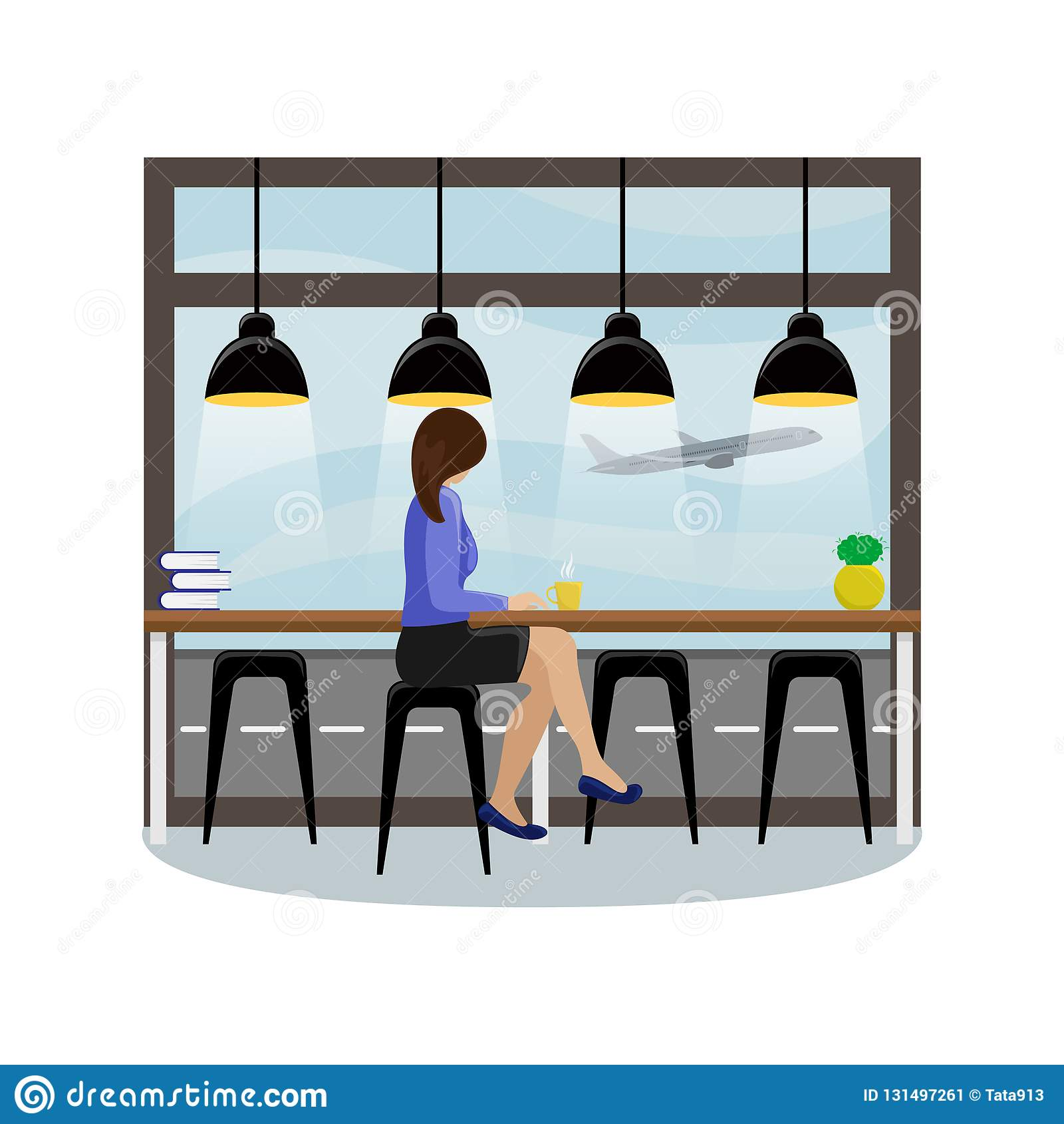 Το κορίτσι πίσω από το μετρητή φραγμών στο πανοραμικό παράθυρο στον αερολιμένα