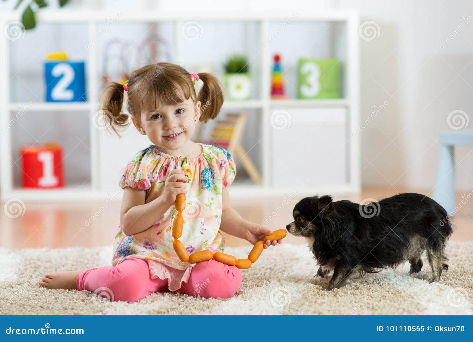 Το κορίτσι παιδιών ταΐζει το σκυλί στο πάτωμα στο δωμάτιο