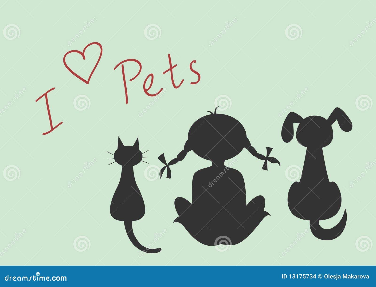 το κορίτσι σκυλιών γατών &lambd