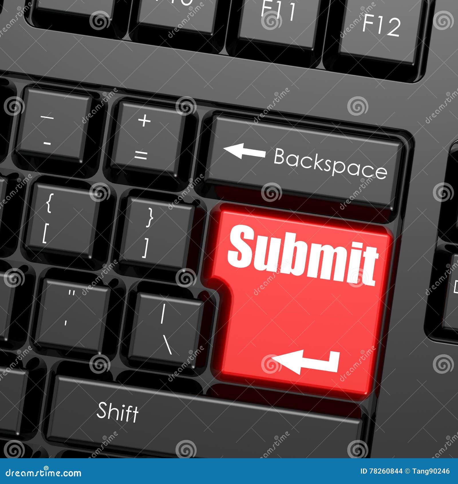 Το κόκκινο εισάγει το κουμπί στο πληκτρολόγιο υπολογιστών, υποβάλλει τη λέξη