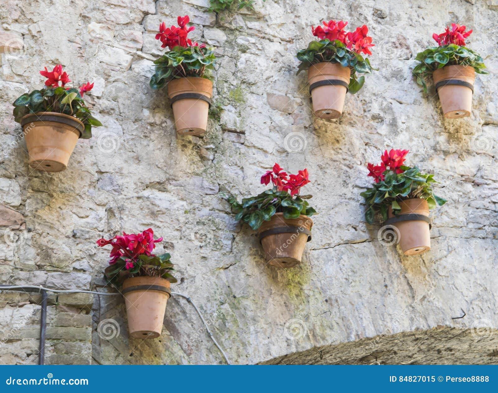 Το κόκκινο τα δοχεία που κρεμούν στον τοίχο