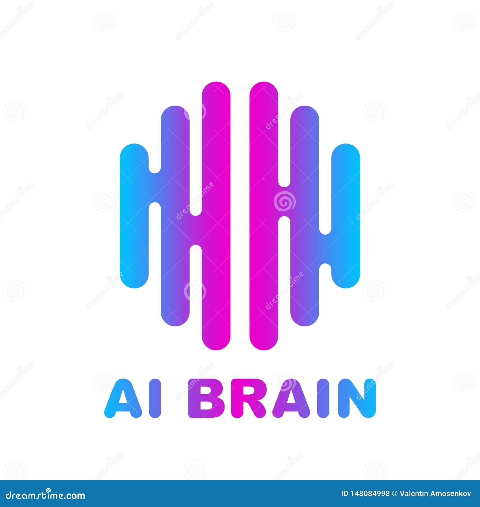 Το λογότυπο εγκεφάλου χρωμάτισε το διανυσματικό πρότυπο σχεδίου σκιαγραφιών