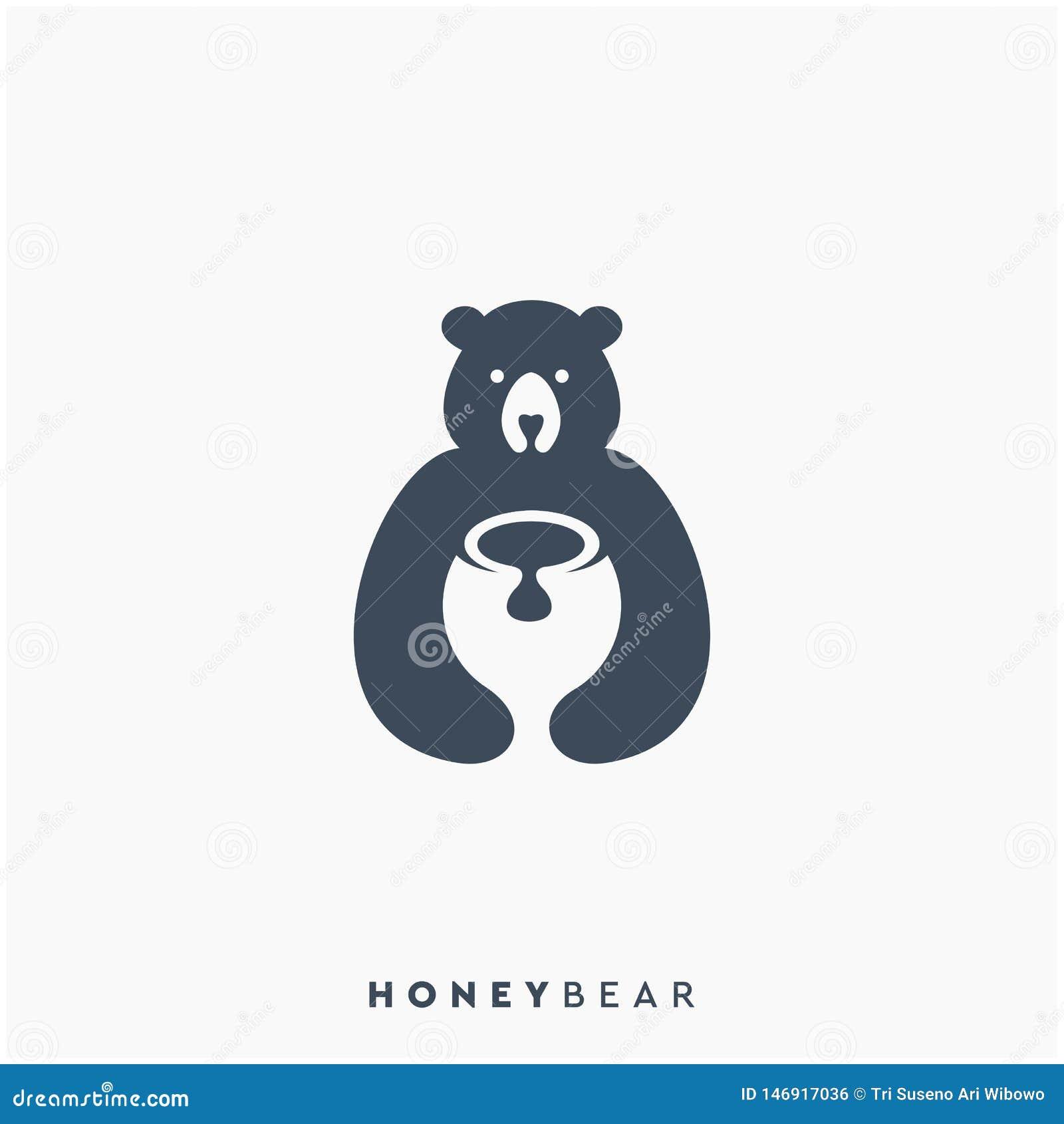 Το μέλι αντέχει το σχέδιο λογότυπων, διάνυσμα, απεικόνιση
