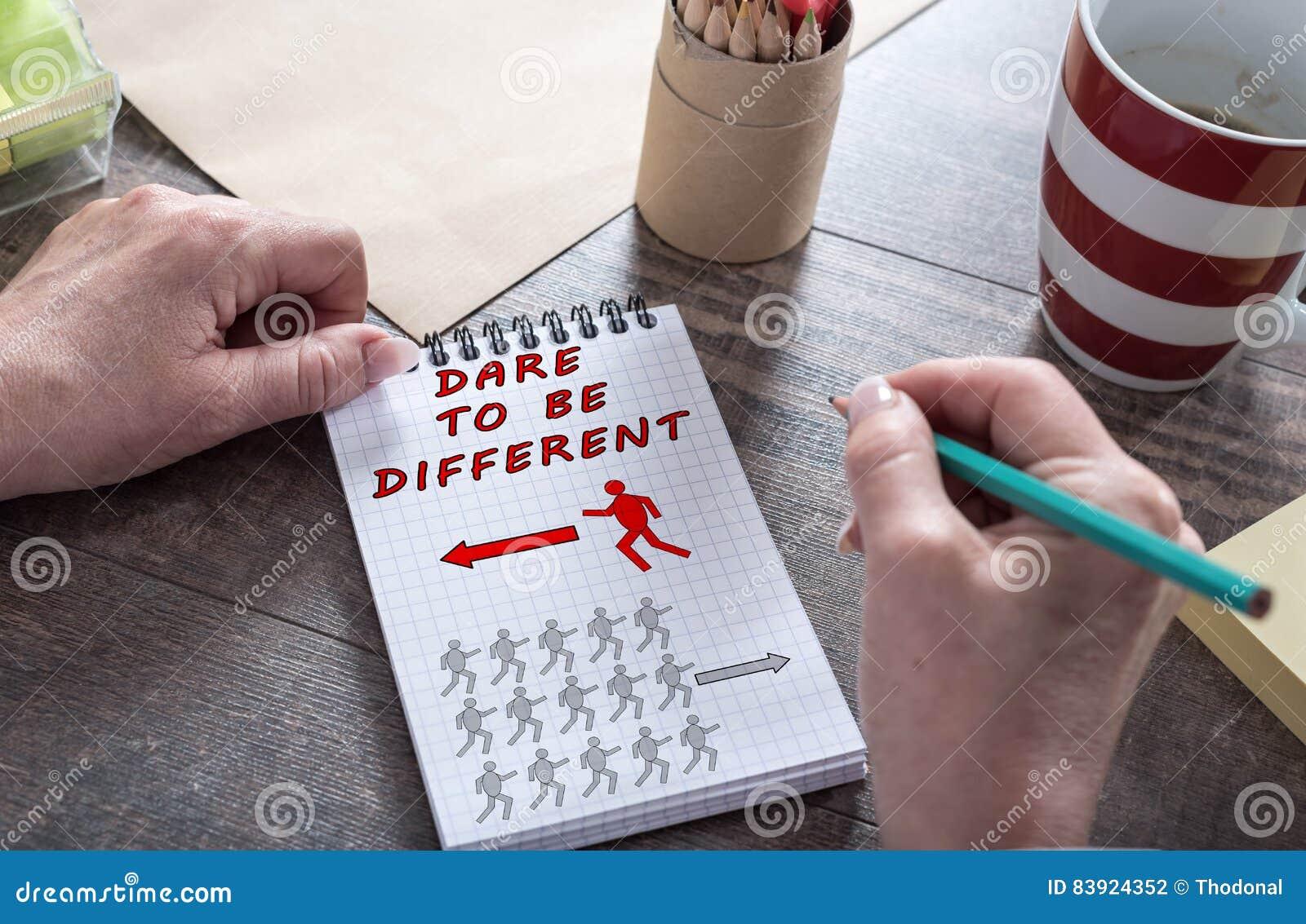 Τολμήστε να είστε διαφορετική έννοια σε ένα σημειωματάριο